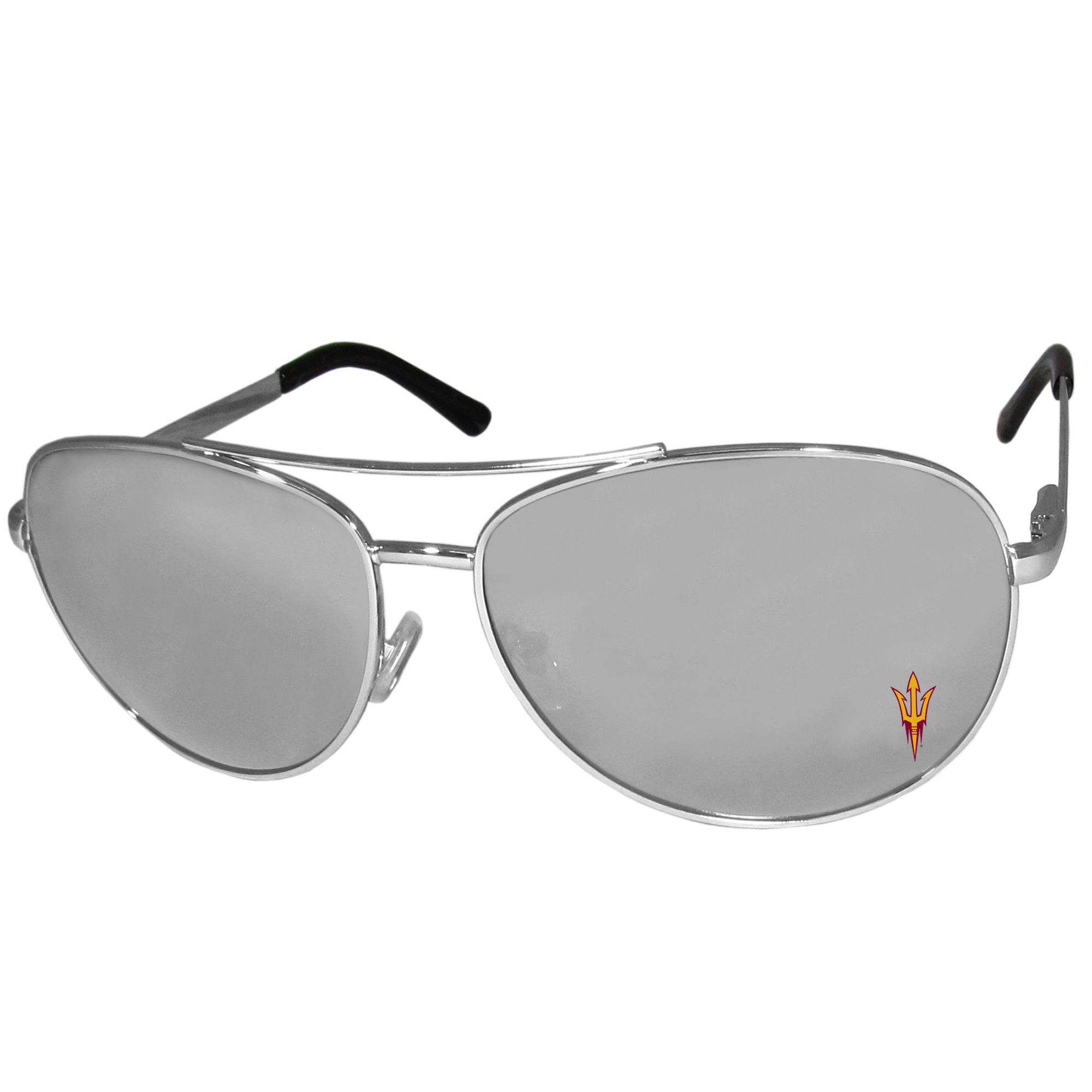 Arizona St. Sun Devils Aviator Sunglasses - Our aviator sunglasses have the iconic aviator style with mirrored lenses and metal frames. The glasses feature a silk screened Arizona St. Sun Devils logo in the corner of the lense. 100% UVA/UVB protection.