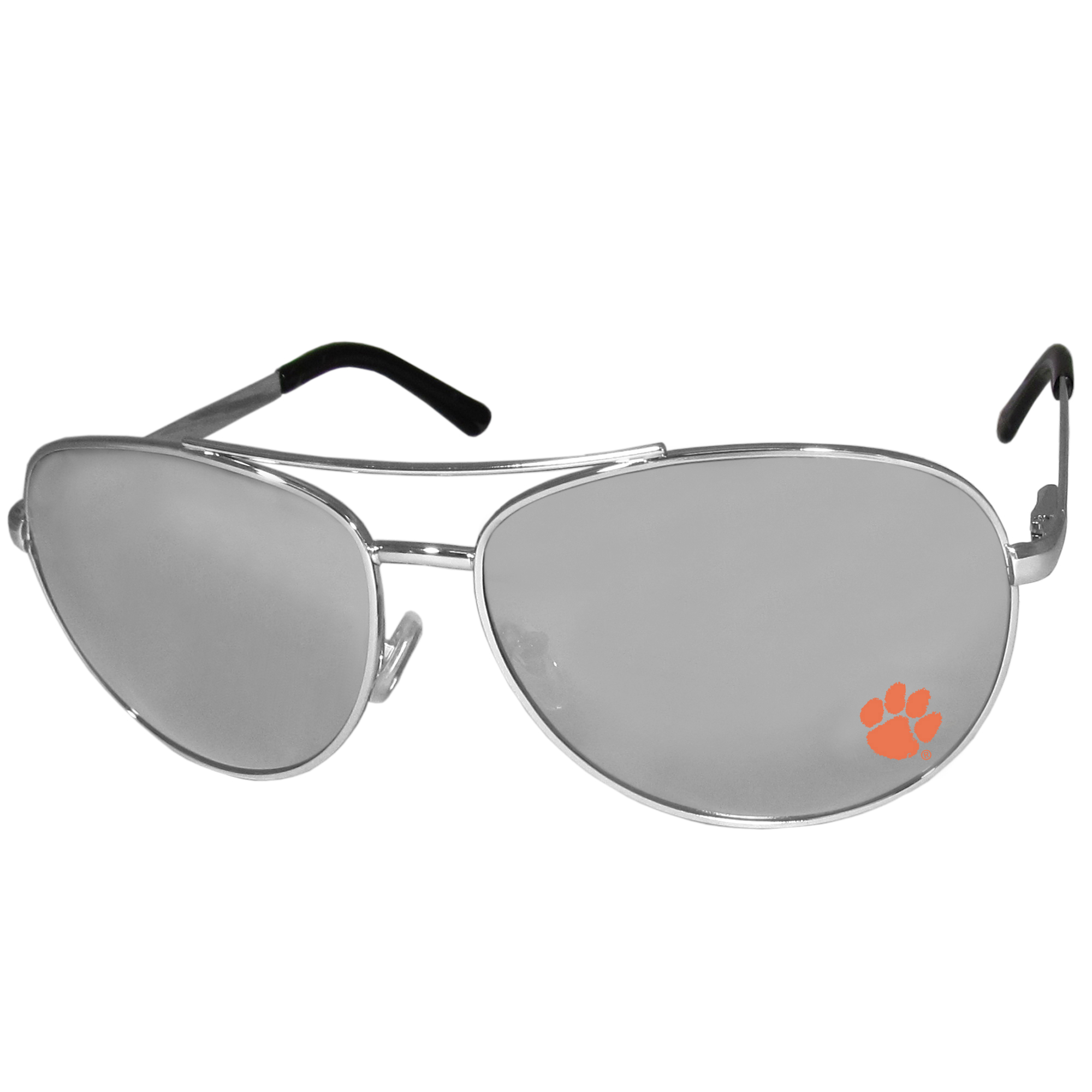 Clemson Tigers Aviator Sunglasses - Our aviator sunglasses have the iconic aviator style with mirrored lenses and metal frames. The glasses feature a silk screened Clemson Tigers logo in the corner of the lense. 100% UVA/UVB protection.