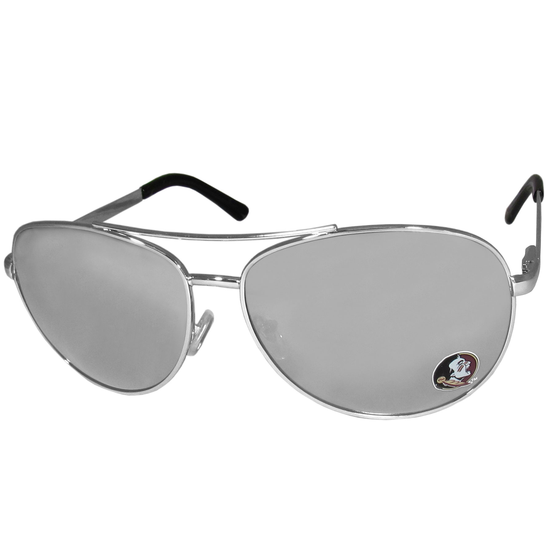 Florida St. Seminoles Aviator Sunglasses - Our aviator sunglasses have the iconic aviator style with mirrored lenses and metal frames. The glasses feature a silk screened Florida St. Seminoles logo in the corner of the lense. 100% UVA/UVB protection.
