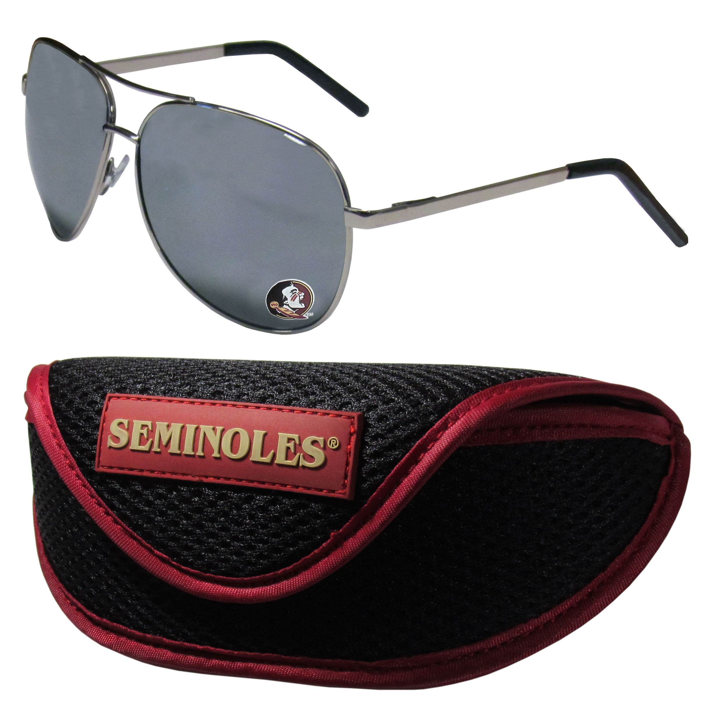 Florida St. Seminoles Aviator Sunglasses and Sports Case - Aviator sunglasses are truly an iconic retro fashion statement that never goes out-of-style. Our Florida St. Seminoles  aviator sunglasses pair this classic look with your love of the game. The iridium coated lenses reduce glare while driving, boating, golfing and their 100% UVA/UVB rating provides you with the maximum UV protection for all your outdoor activities. A millennial favorite, these affordable designer frames are the perfect eyewear accessory for a sports fan that is looking for high-quality at an affordable price. The durable, flex hinged frames are tough enough for hiking and camping or if you prefer sun bathing by the pool or on the beach these shades will really stand the test of time. The sunglasses come with a sporty case which has a large team logo on the lid that will make even the most die-hard fan proud!