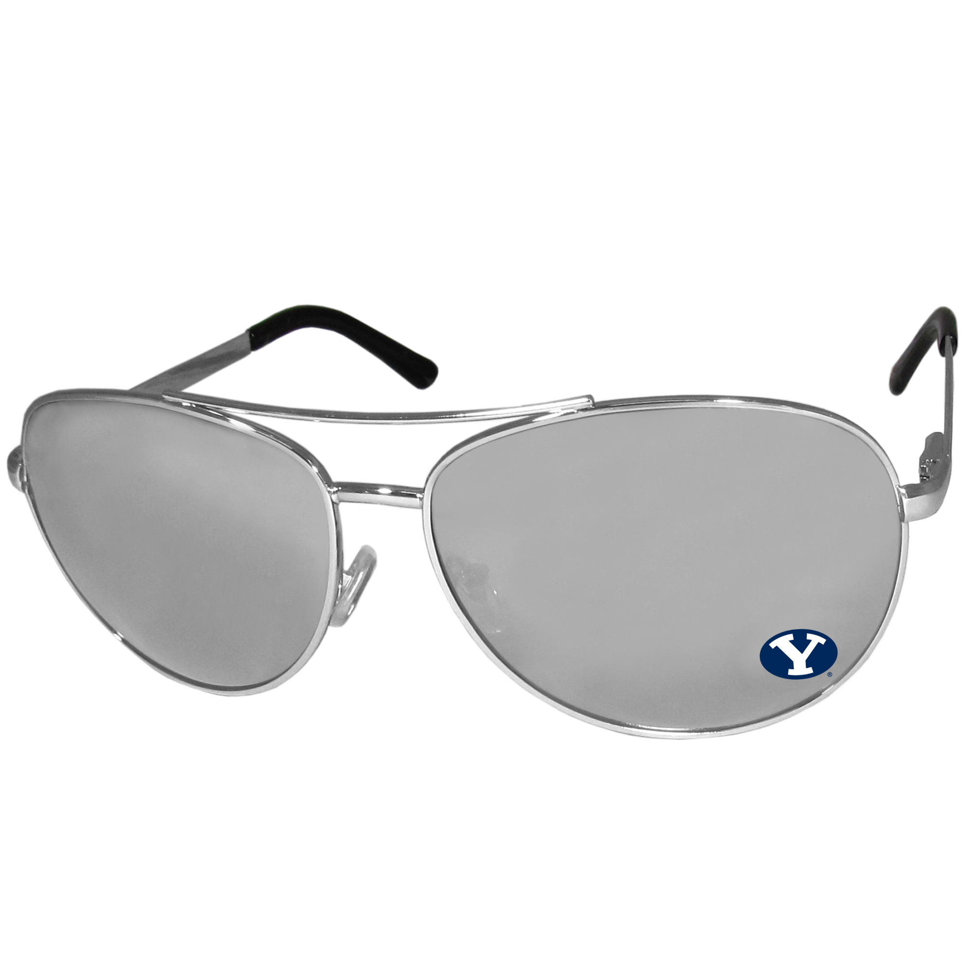 BYU Cougars Aviator Sunglasses - Our aviator sunglasses have the iconic aviator style with mirrored lenses and metal frames. The glasses feature a silk screened BYU Cougars logo in the corner of the lense. 100% UVA/UVB protection.