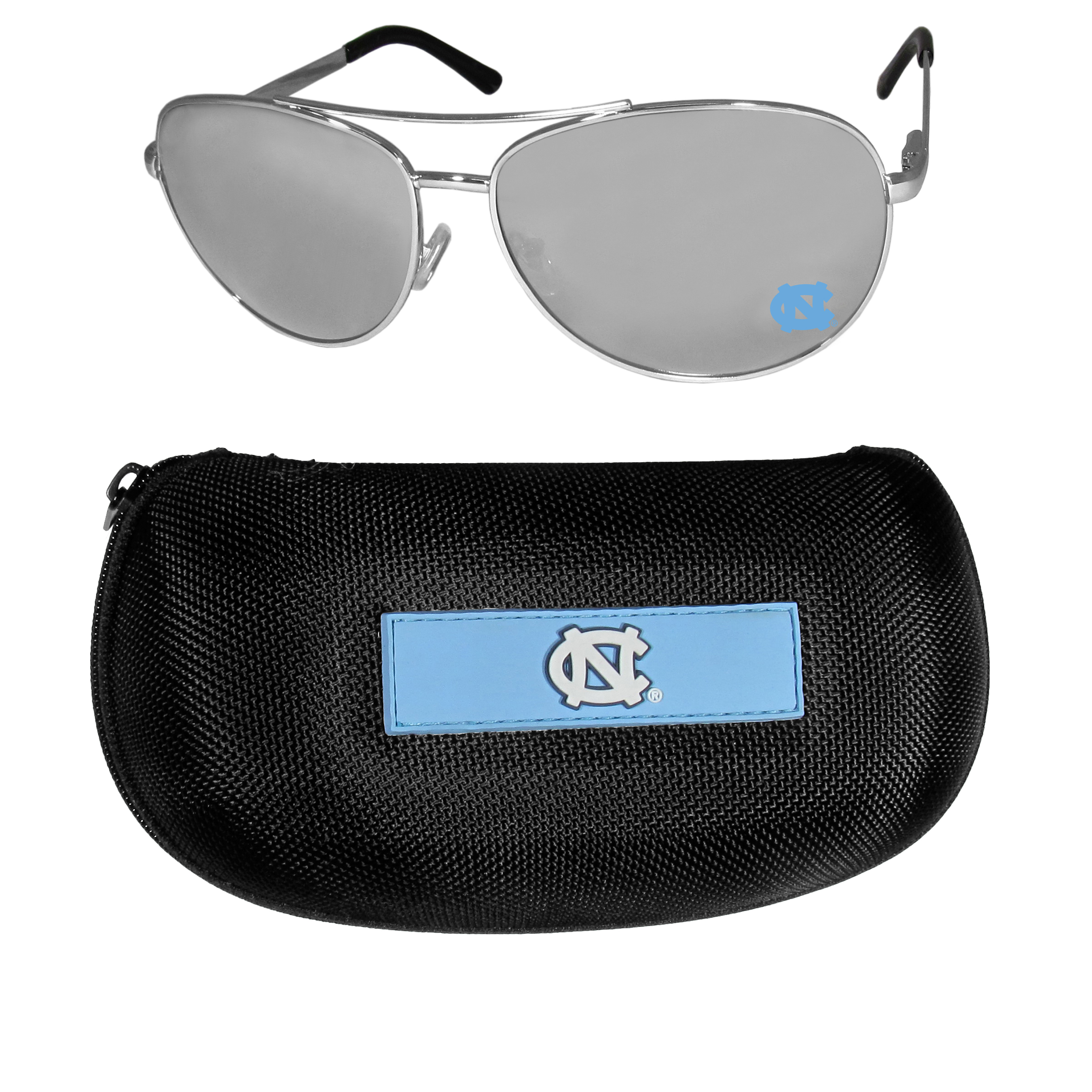 N. Carolina Tar Heels Aviator Sunglasses and Zippered Carrying Case - Aviator sunglasses are truly an iconic retro fashion statement that never goes out-of-style. Our N. Carolina Tar Heels  aviator sunglasses pair this classic look with your love of the game. The iridium coated lenses reduce glare while driving, boating, golfing and their 100% UVA/UVB rating provides you with the maximum UV protection for all your outdoor activities. A millennial favorite, these affordable designer frames are the perfect eyewear accessory for a sports fan that is looking for high-quality at an affordable price. The durable, flex hinged frames are tough enough for hiking and camping or if you prefer sun bathing by the pool or on the beach these shades will really stand the test of time. The sunglasses come with a hard shell zippered case which has a large team logo on the lid that will make even the most die-hard fan proud!
