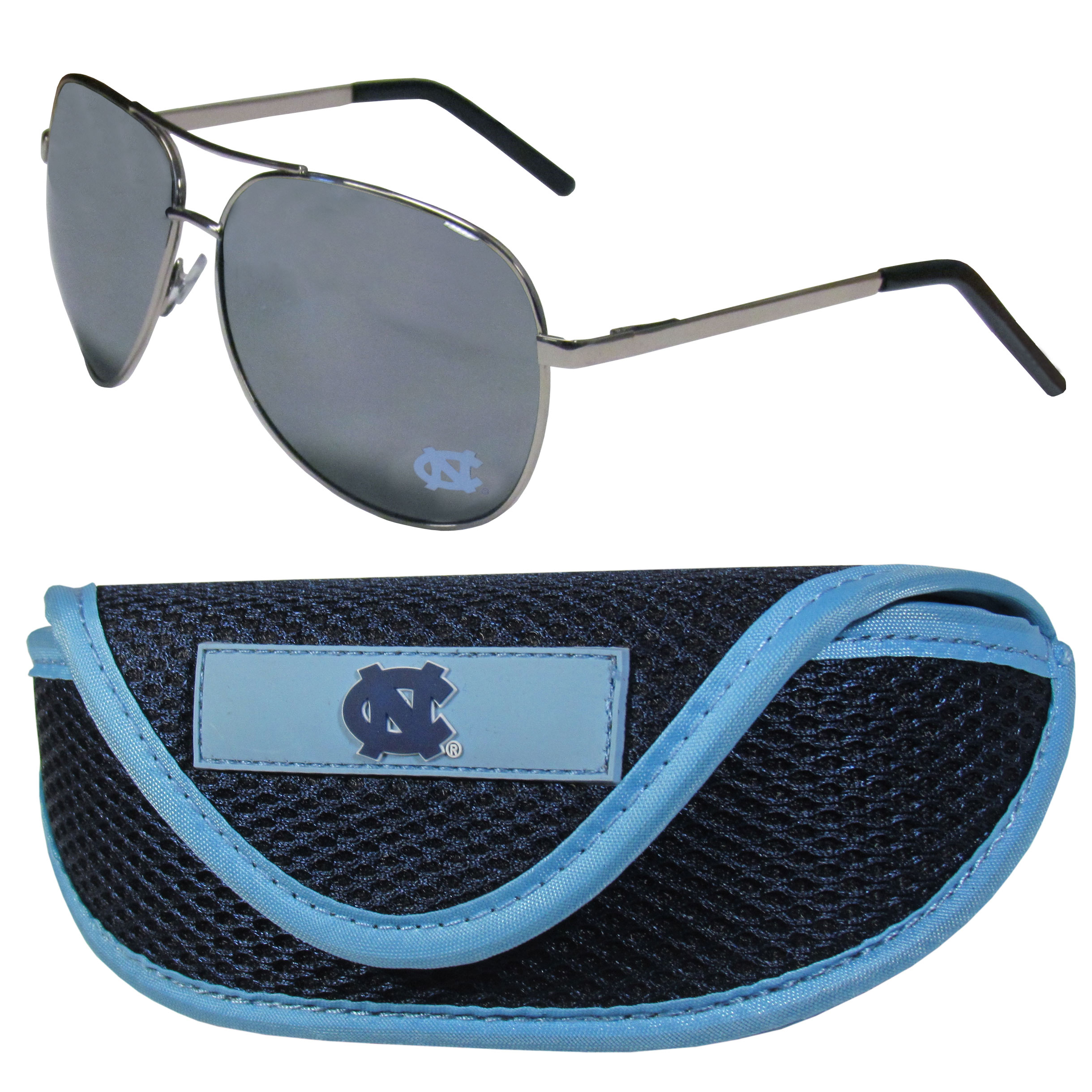 N. Carolina Tar Heels Aviator Sunglasses and Sports Case - Aviator sunglasses are truly an iconic retro fashion statement that never goes out-of-style. Our N. Carolina Tar Heels  aviator sunglasses pair this classic look with your love of the game. The iridium coated lenses reduce glare while driving, boating, golfing and their 100% UVA/UVB rating provides you with the maximum UV protection for all your outdoor activities. A millennial favorite, these affordable designer frames are the perfect eyewear accessory for a sports fan that is looking for high-quality at an affordable price. The durable, flex hinged frames are tough enough for hiking and camping or if you prefer sun bathing by the pool or on the beach these shades will really stand the test of time. The sunglasses come with a sporty case which has a large team logo on the lid that will make even the most die-hard fan proud!