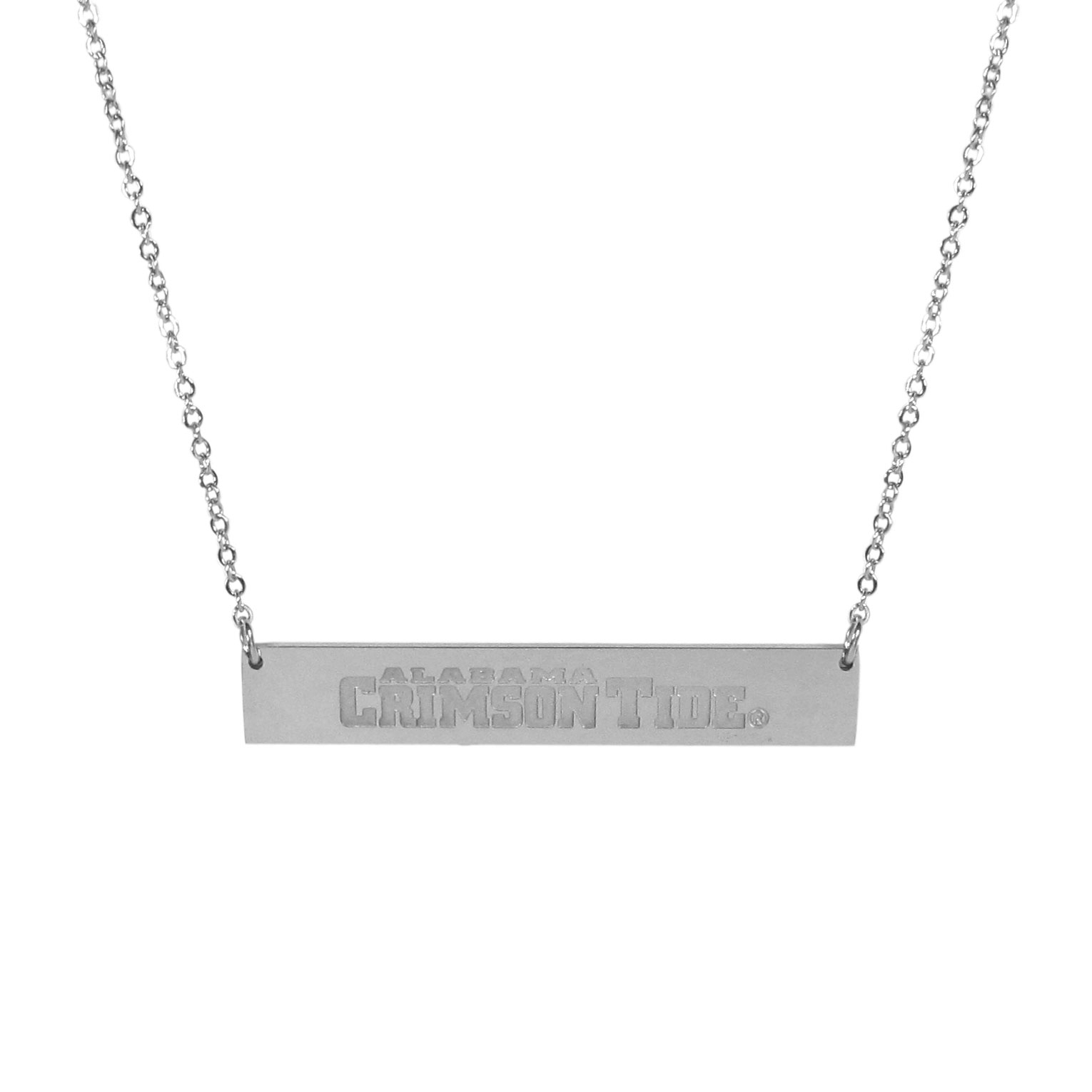 Alabama Crimson Tide Bar Necklace - Simply beautiful Alabama Crimson Tide bar necklace on a 20 inch link chain with 2 inch adjustable extender. This light-weight bar necklace has a stylish silver colored finish with the team name expertly etched on the 1.5 inch bar. Every female  fan will enjoy this contempory fashion accessory.