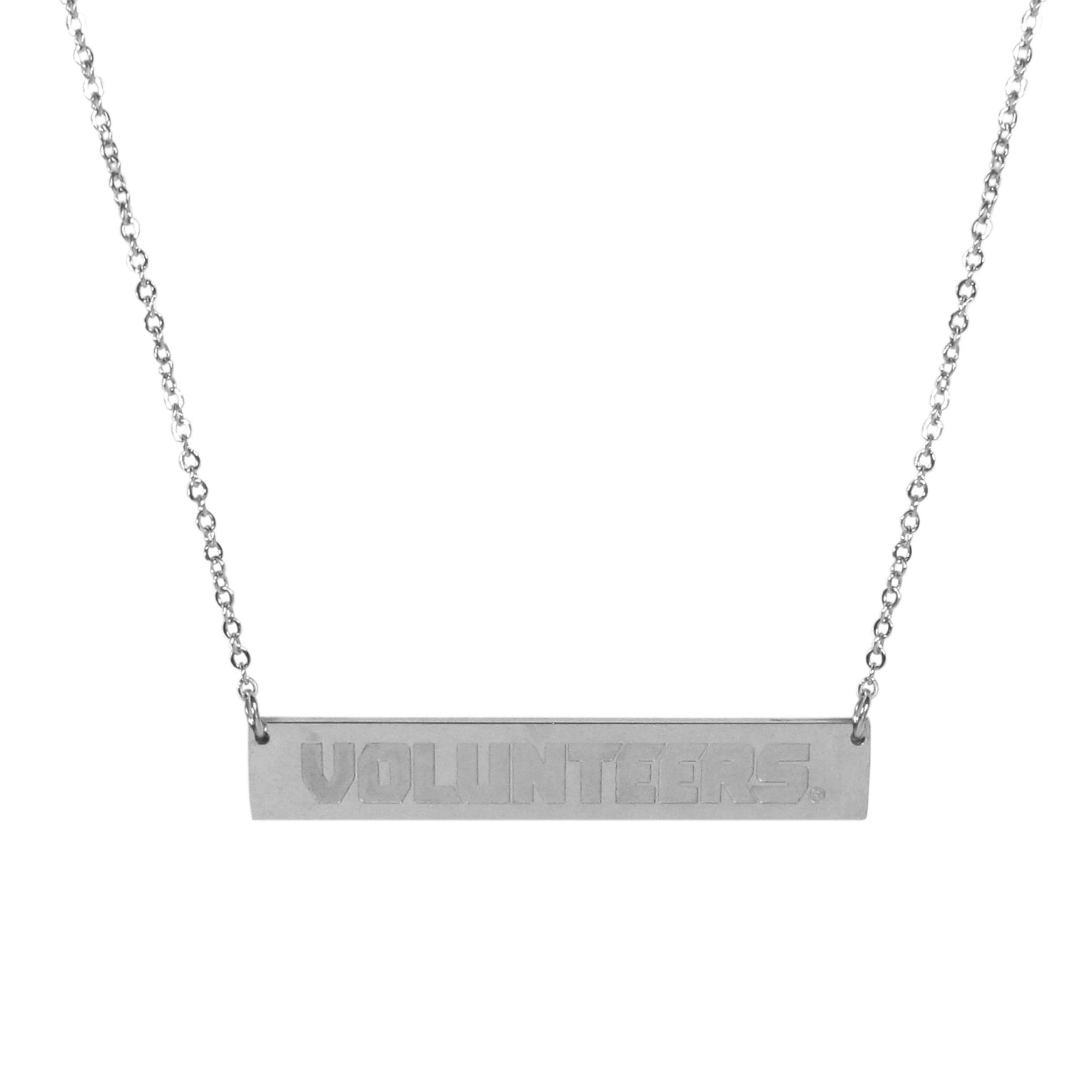 Tennessee Volunteers Bar Necklace - Simply beautiful Tennessee Volunteers bar necklace on a 20 inch link chain with 2 inch adjustable extender. This light-weight bar necklace has a stylish silver colored finish with the team name expertly etched on the 1.5 inch bar. Every female  fan will enjoy this contempory fashion accessory.