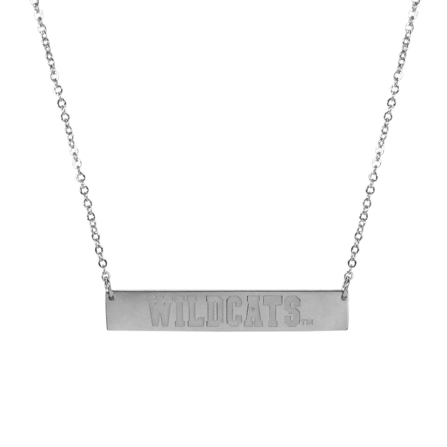 Kentucky Wildcats Bar Necklace - Simply beautiful Kentucky Wildcats bar necklace on a 20 inch link chain with 2 inch adjustable extender. This light-weight bar necklace has a stylish silver colored finish with the team name expertly etched on the 1.5 inch bar. Every female  fan will enjoy this contempory fashion accessory.