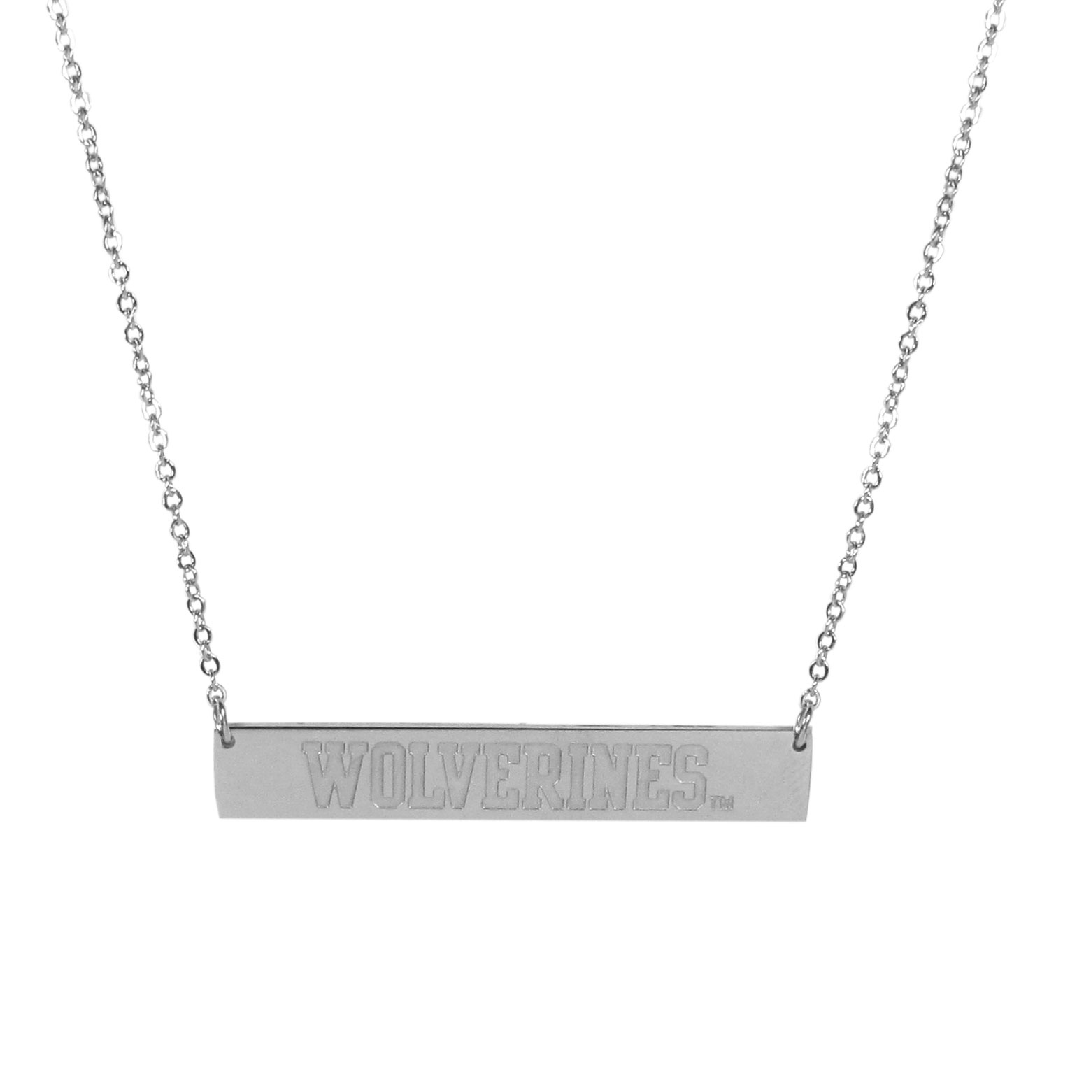 Michigan Wolverines Bar Necklace - Simply beautiful Michigan Wolverines bar necklace on a 20 inch link chain with 2 inch adjustable extender. This light-weight bar necklace has a stylish silver colored finish with the team name expertly etched on the 1.5 inch bar. Every female  fan will enjoy this contempory fashion accessory.