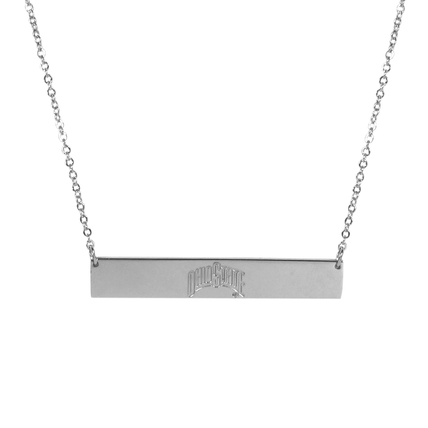 Ohio St. Buckeyes Bar Necklace - Simply beautiful Ohio St. Buckeyes bar necklace on a 20 inch link chain with 2 inch adjustable extender. This light-weight bar necklace has a stylish silver colored finish with the team name expertly etched on the 1.5 inch bar. Every female  fan will enjoy this contempory fashion accessory.