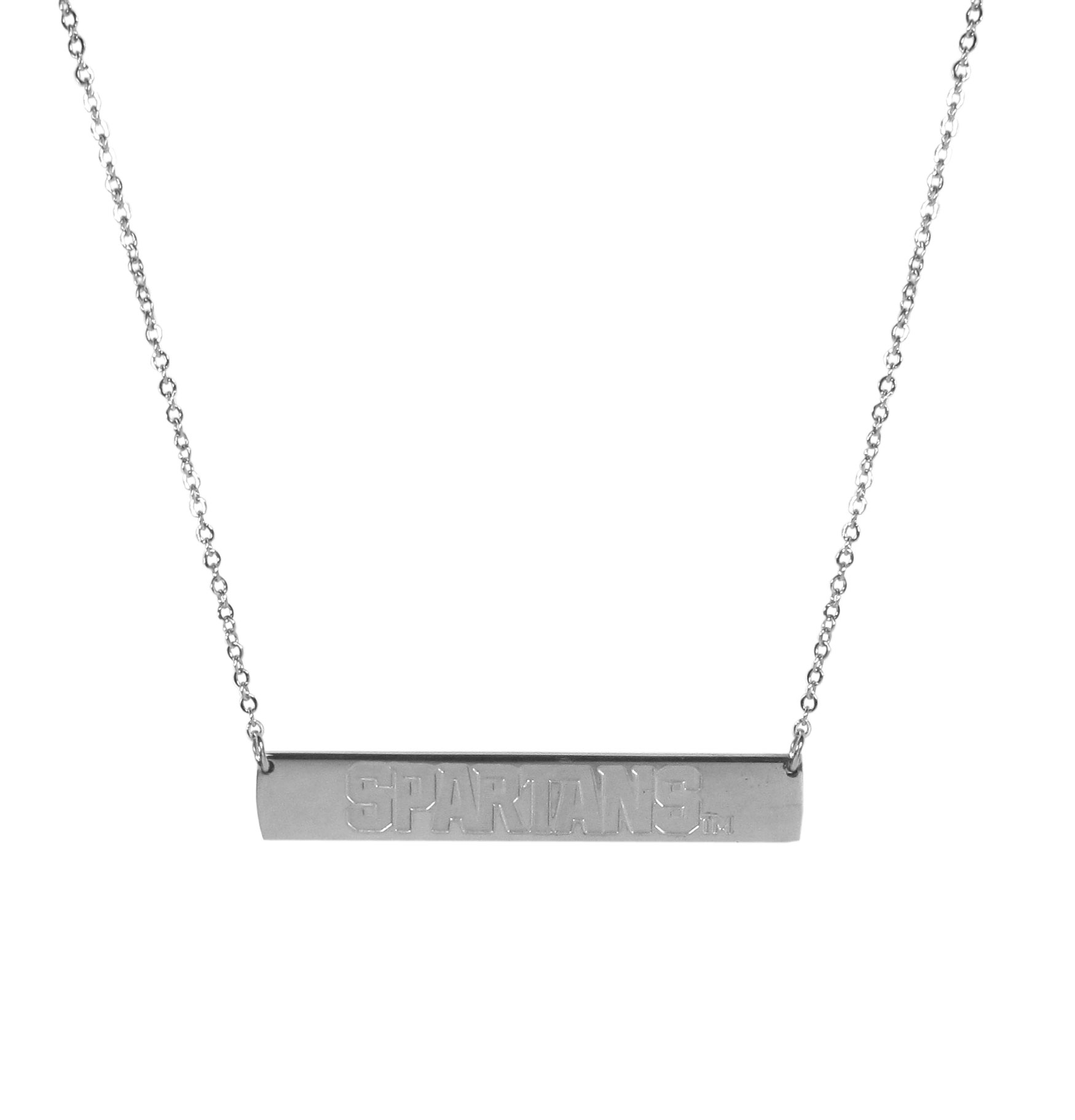 Michigan St. Spartans Bar Necklace - Simply beautiful Michigan St. Spartans bar necklace on a 20 inch link chain with 2 inch adjustable extender. This light-weight bar necklace has a stylish silver colored finish with the team name expertly etched on the 1.5 inch bar. Every female  fan will enjoy this contempory fashion accessory.