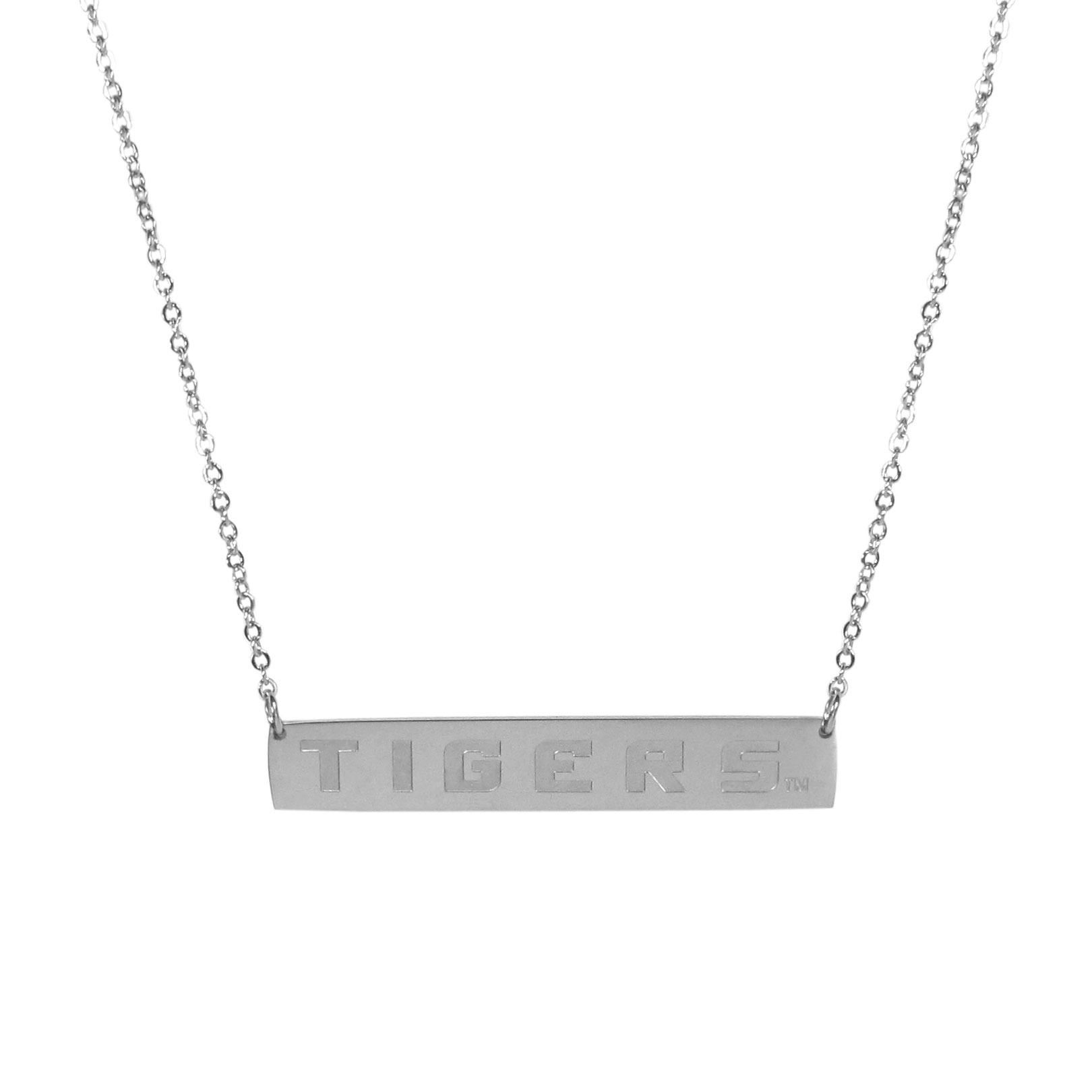 LSU Tigers Bar Necklace - Simply beautiful LSU Tigers bar necklace on a 20 inch link chain with 2 inch adjustable extender. This light-weight bar necklace has a stylish silver colored finish with the team name expertly etched on the 1.5 inch bar. Every female  fan will enjoy this contempory fashion accessory.
