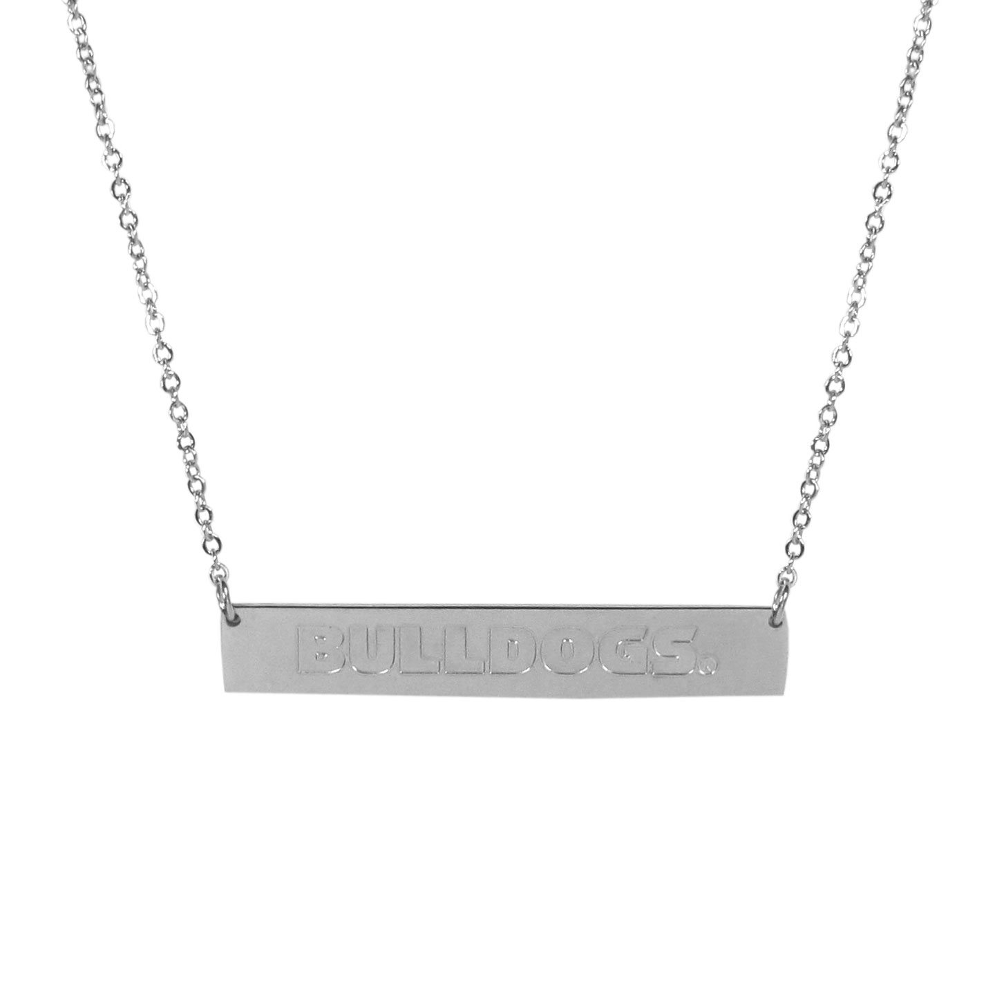 Georgia Bulldogs Bar Necklace - Simply beautiful Georgia Bulldogs bar necklace on a 20 inch link chain with 2 inch adjustable extender. This light-weight bar necklace has a stylish silver colored finish with the team name expertly etched on the 1.5 inch bar. Every female  fan will enjoy this contempory fashion accessory.