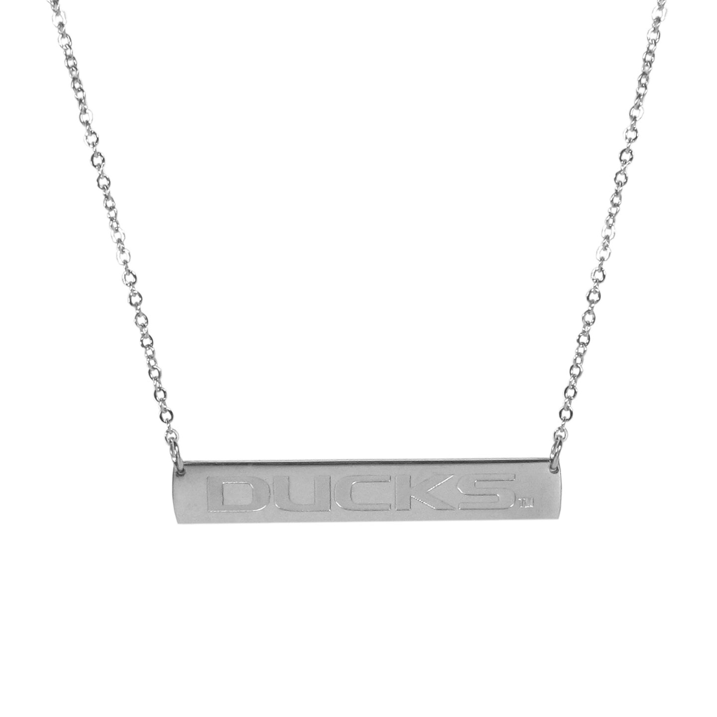 Oregon Ducks Bar Necklace - Simply beautiful Oregon Ducks bar necklace on a 20 inch link chain with 2 inch adjustable extender. This light-weight bar necklace has a stylish silver colored finish with the team name expertly etched on the 1.5 inch bar. Every female  fan will enjoy this contempory fashion accessory.