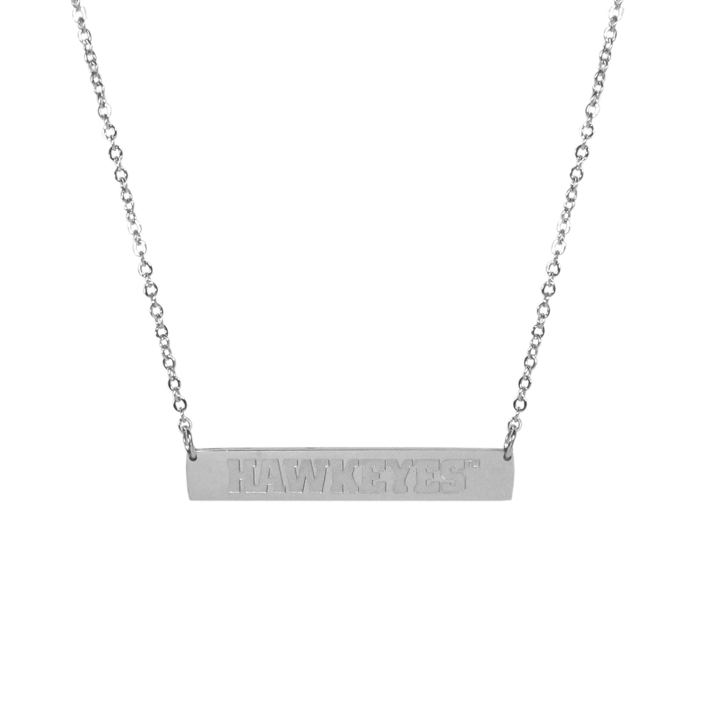 Iowa Hawkeyes Bar Necklace - Simply beautiful Iowa Hawkeyes bar necklace on a 20 inch link chain with 2 inch adjustable extender. This light-weight bar necklace has a stylish silver colored finish with the team name expertly etched on the 1.5 inch bar. Every female  fan will enjoy this contempory fashion accessory.