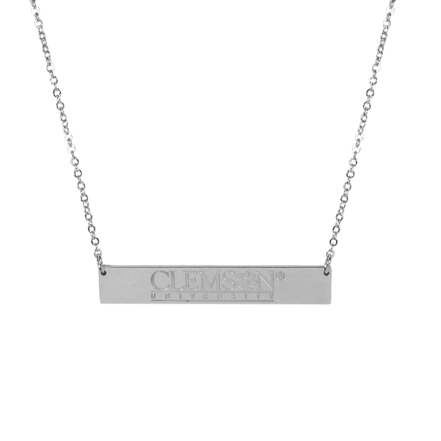 Clemson Tigers Bar Necklace - Simply beautiful Clemson Tigers bar necklace on a 20 inch link chain with 2 inch adjustable extender. This light-weight bar necklace has a stylish silver colored finish with the team name expertly etched on the 1.5 inch bar. Every female  fan will enjoy this contempory fashion accessory.