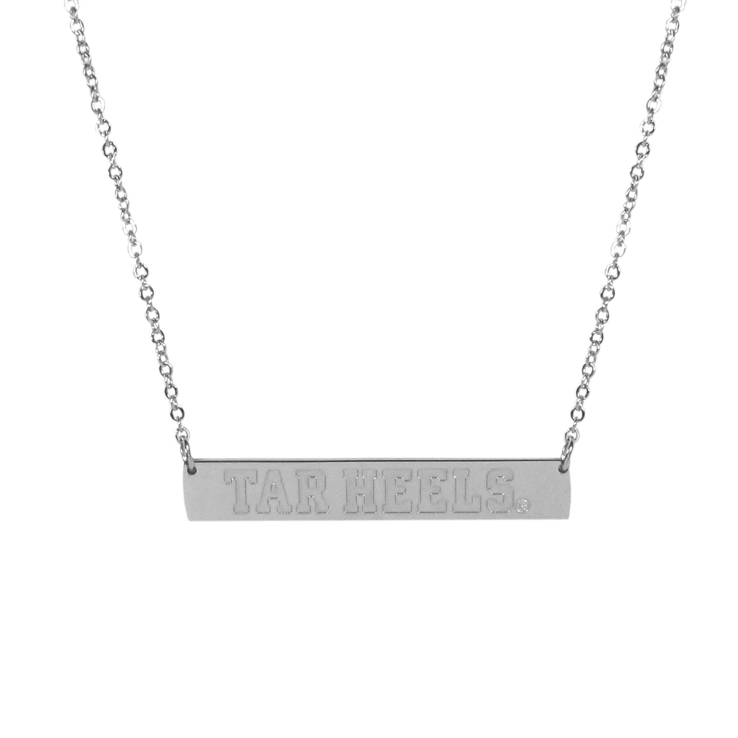N. Carolina Tar Heels Bar Necklace - Simply beautiful N. Carolina Tar Heels bar necklace on a 20 inch link chain with 2 inch adjustable extender. This light-weight bar necklace has a stylish silver colored finish with the team name expertly etched on the 1.5 inch bar. Every female  fan will enjoy this contempory fashion accessory.