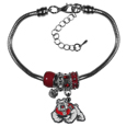 Fresno St. Bulldogs Euro Bead Bracelet - We have combined the wildly popular Euro style beads with your favorite team to create our  Fresno St. Bulldogs bead bracelet. The 7.5 inch snake chain with 2 inch extender features 4 Euro beads with enameled team colors and rhinestone accents with a high polish, nickel free charm and rhinestone charm. Perfect way to show off your team pride.