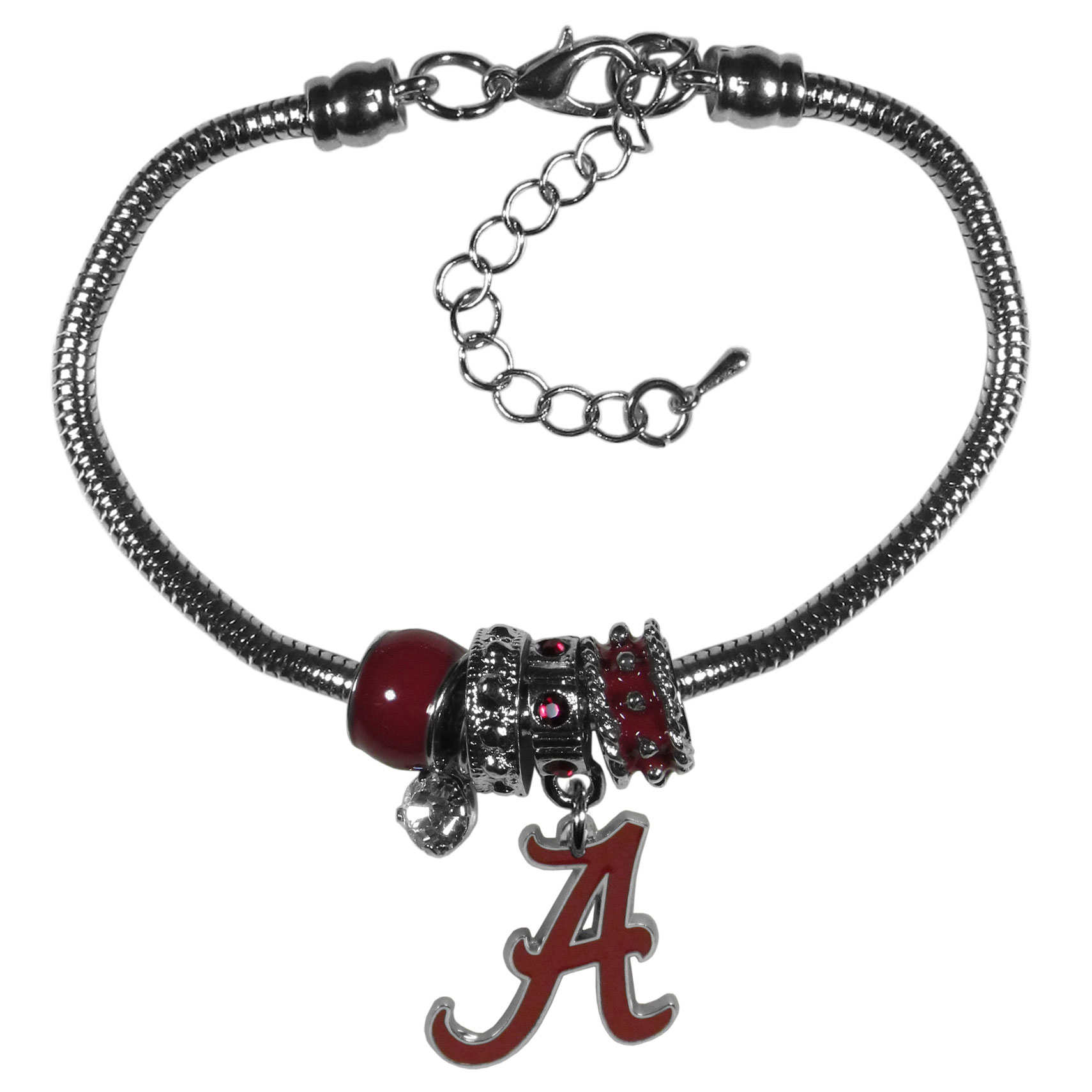 Alabama Crimson Tide Euro Bead Bracelet - We have combined the wildly popular Euro style beads with your favorite team to create our  Alabama Crimson Tide bead bracelet. The 7.5 inch snake chain with 2 inch extender features 4 Euro beads with enameled team colors and rhinestone accents with a high polish, nickel free charm and rhinestone charm. Perfect way to show off your team pride.