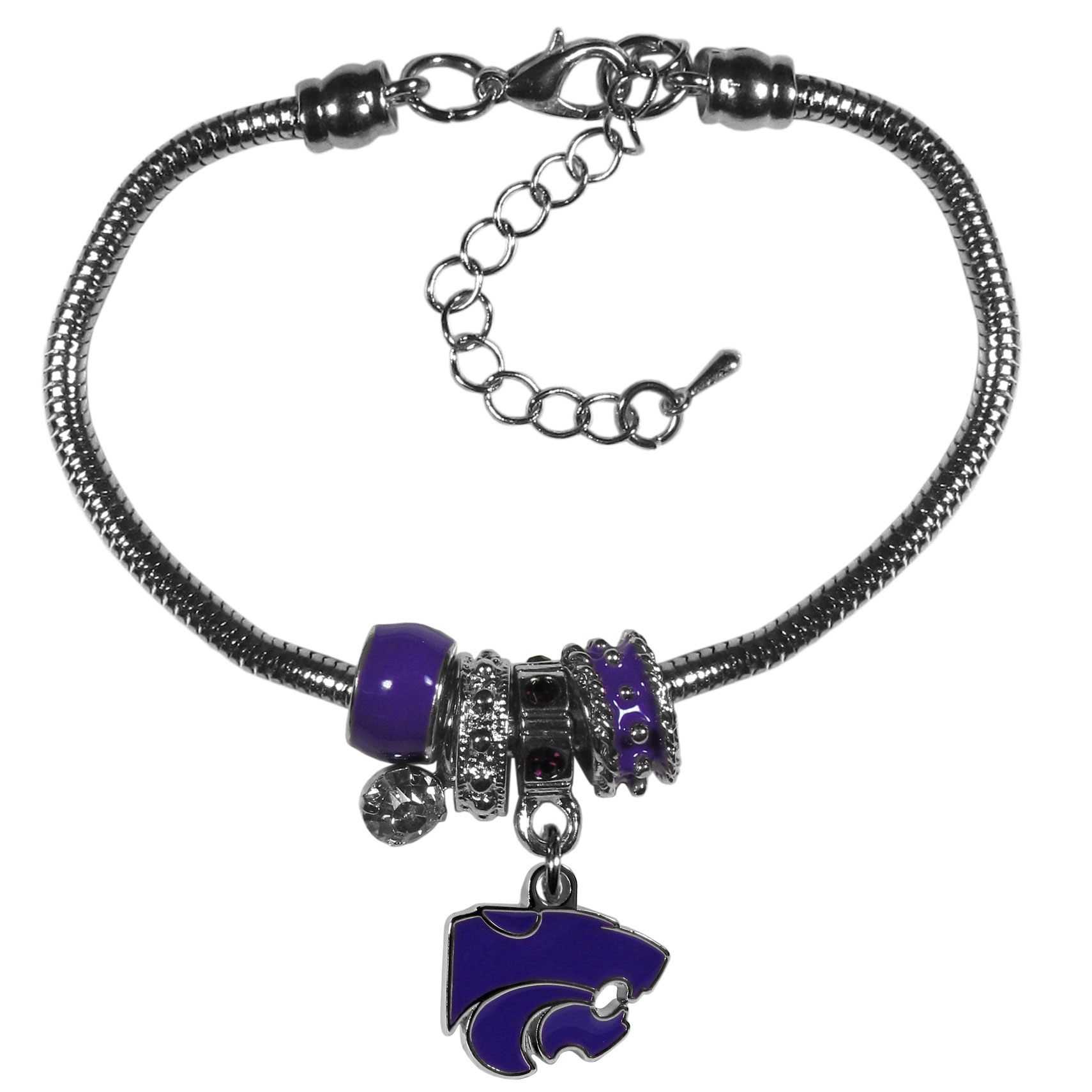 Kansas St. Wildcats Euro Bead Bracelet - We have combined the wildly popular Euro style beads with your favorite team to create our  Kansas St. Wildcats bead bracelet. The 7.5 inch snake chain with 2 inch extender features 4 Euro beads with enameled team colors and rhinestone accents with a high polish, nickel free charm and rhinestone charm. Perfect way to show off your team pride.
