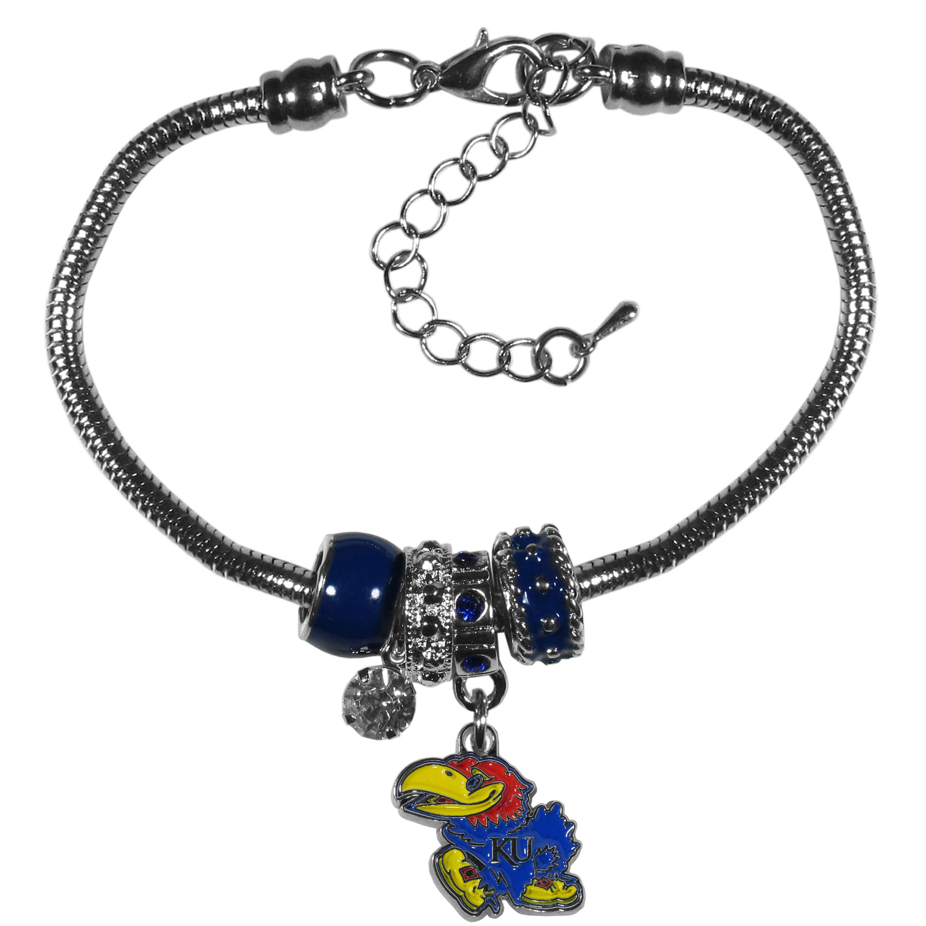 Kansas Jayhawks Euro Bead Bracelet - We have combined the wildly popular Euro style beads with your favorite team to create our  Kansas Jayhawks bead bracelet. The 7.5 inch snake chain with 2 inch extender features 4 Euro beads with enameled team colors and rhinestone accents with a high polish, nickel free charm and rhinestone charm. Perfect way to show off your team pride.