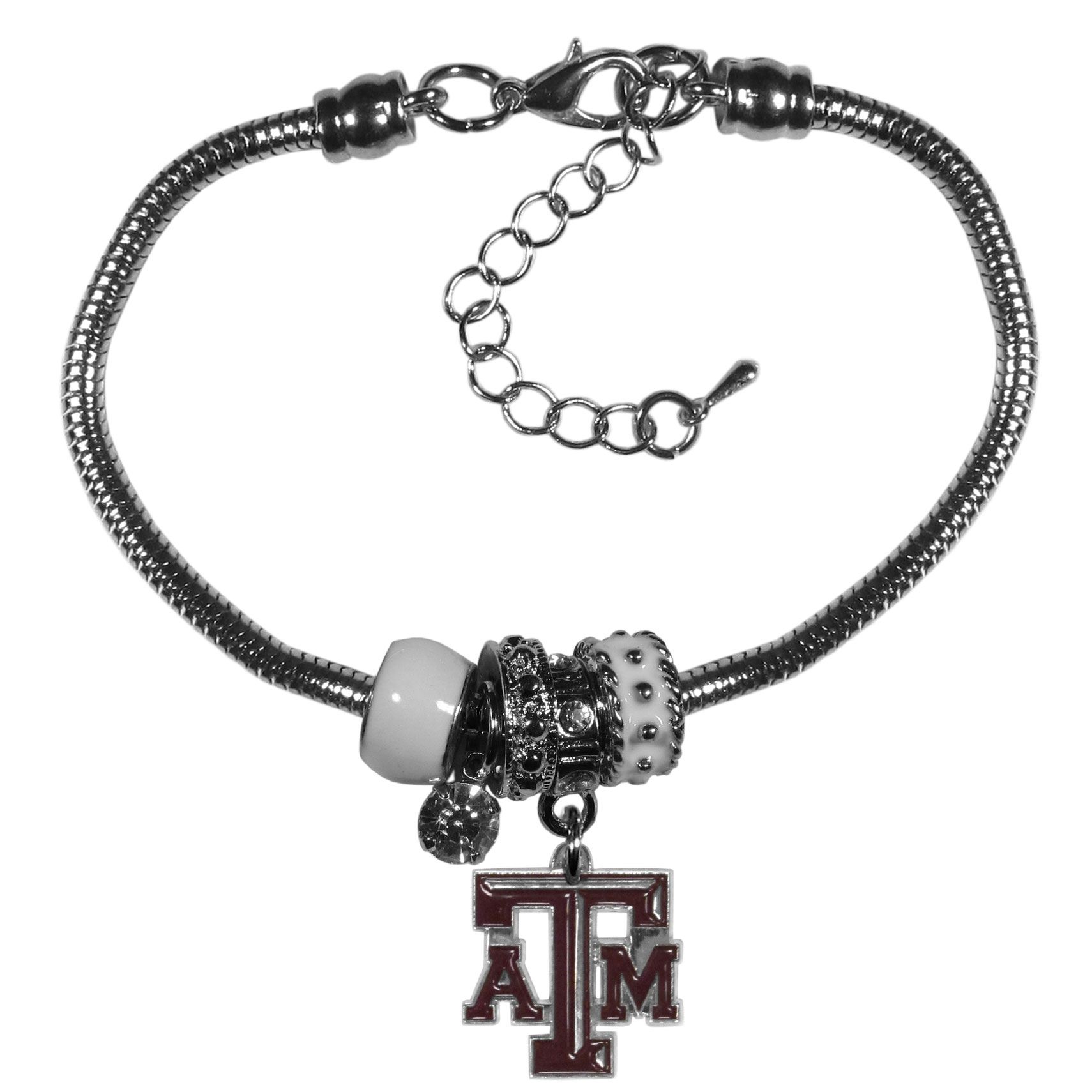 Texas A and M Aggies Euro Bead Bracelet - We have combined the wildly popular Euro style beads with your favorite team to create our  Texas A & M Aggies bead bracelet. The 7.5 inch snake chain with 2 inch extender features 4 Euro beads with enameled team colors and rhinestone accents with a high polish, nickel free charm and rhinestone charm. Perfect way to show off your team pride.