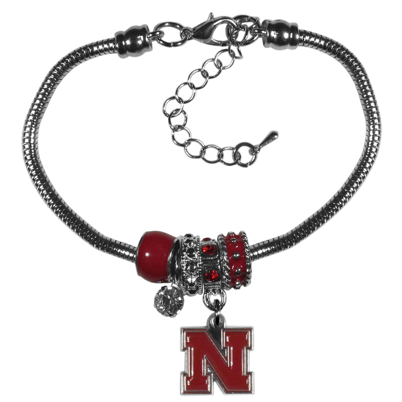 Nebraska Cornhuskers Euro Bead Bracelet - We have combined the wildly popular Euro style beads with your favorite team to create our  Nebraska Cornhuskers bead bracelet. The 7.5 inch snake chain with 2 inch extender features 4 Euro beads with enameled team colors and rhinestone accents with a high polish, nickel free charm and rhinestone charm. Perfect way to show off your team pride.