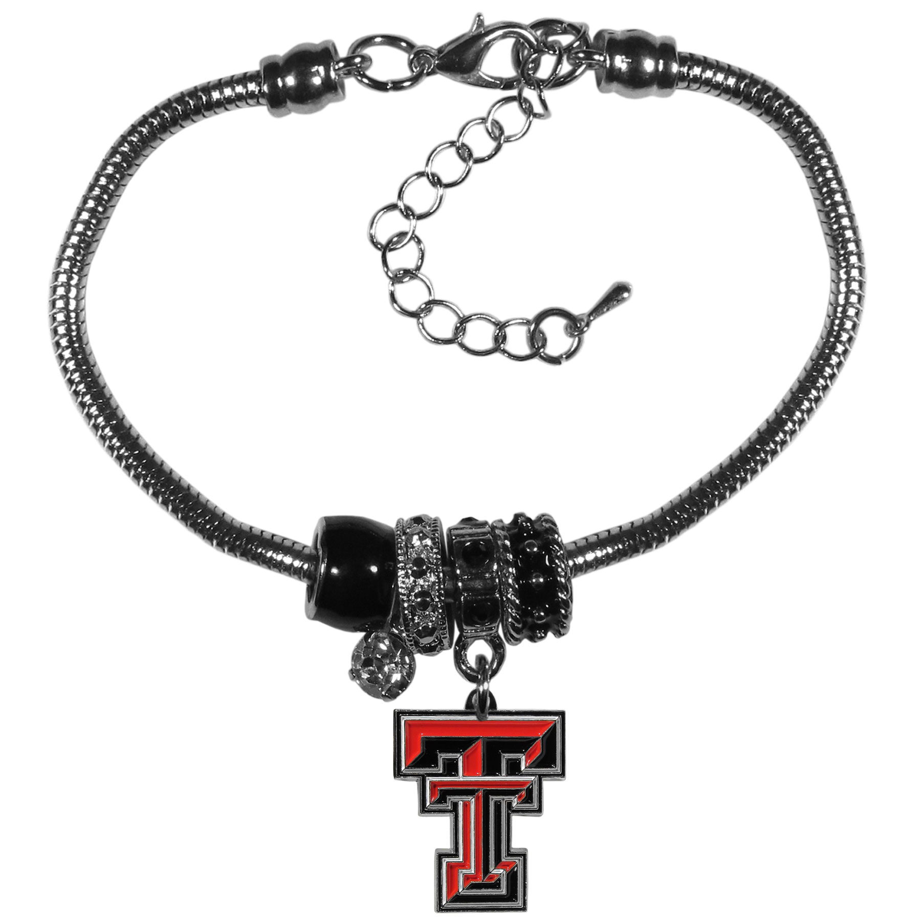 Texas Tech Raiders Euro Bead Bracelet - We have combined the wildly popular Euro style beads with your favorite team to create our  Texas Tech Raiders bead bracelet. The 7.5 inch snake chain with 2 inch extender features 4 Euro beads with enameled team colors and rhinestone accents with a high polish, nickel free charm and rhinestone charm. Perfect way to show off your team pride.