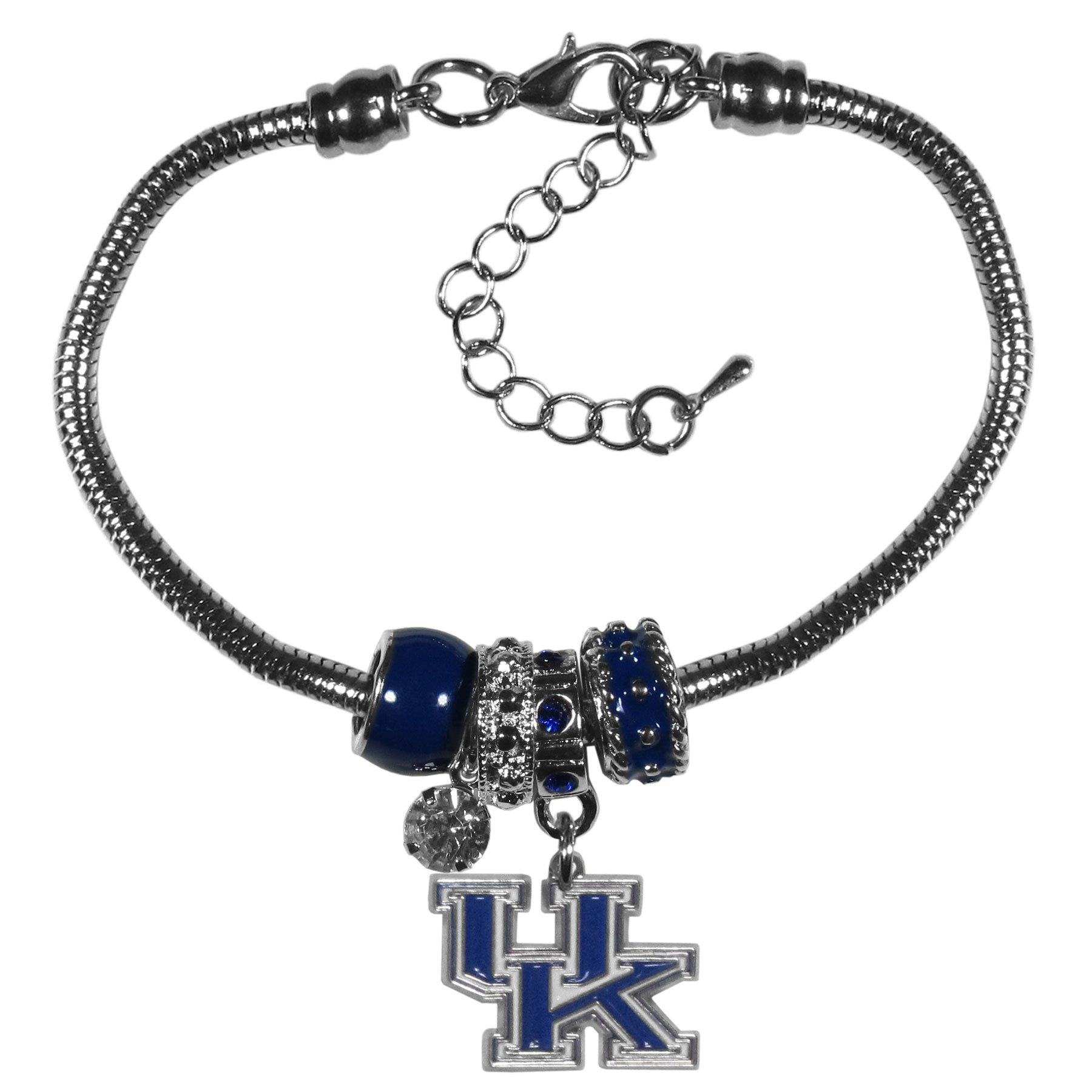 Kentucky Wildcats Euro Bead Bracelet - We have combined the wildly popular Euro style beads with your favorite team to create our  Kentucky Wildcats bead bracelet. The 7.5 inch snake chain with 2 inch extender features 4 Euro beads with enameled team colors and rhinestone accents with a high polish, nickel free charm and rhinestone charm. Perfect way to show off your team pride.