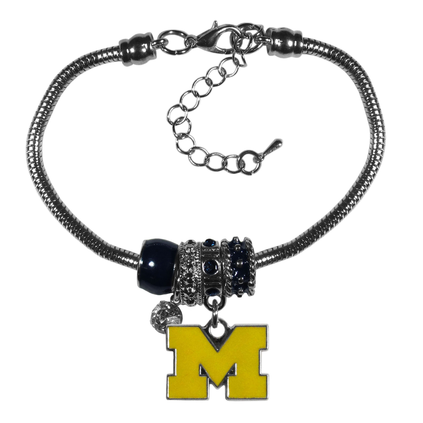 Michigan Wolverines Euro Bead Bracelet - We have combined the wildly popular Euro style beads with your favorite team to create our  Michigan Wolverines bead bracelet. The 7.5 inch snake chain with 2 inch extender features 4 Euro beads with enameled team colors and rhinestone accents with a high polish, nickel free charm and rhinestone charm. Perfect way to show off your team pride.