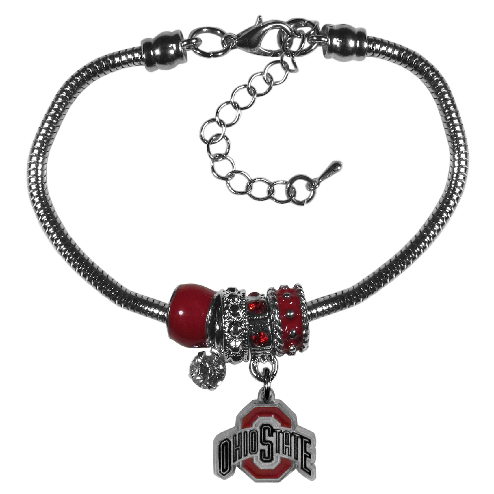 Ohio St. Buckeyes Euro Bead Bracelet - We have combined the wildly popular Euro style beads with your favorite team to create our  Ohio St. Buckeyes bead bracelet. The 7.5 inch snake chain with 2 inch extender features 4 Euro beads with enameled team colors and rhinestone accents with a high polish, nickel free charm and rhinestone charm. Perfect way to show off your team pride.