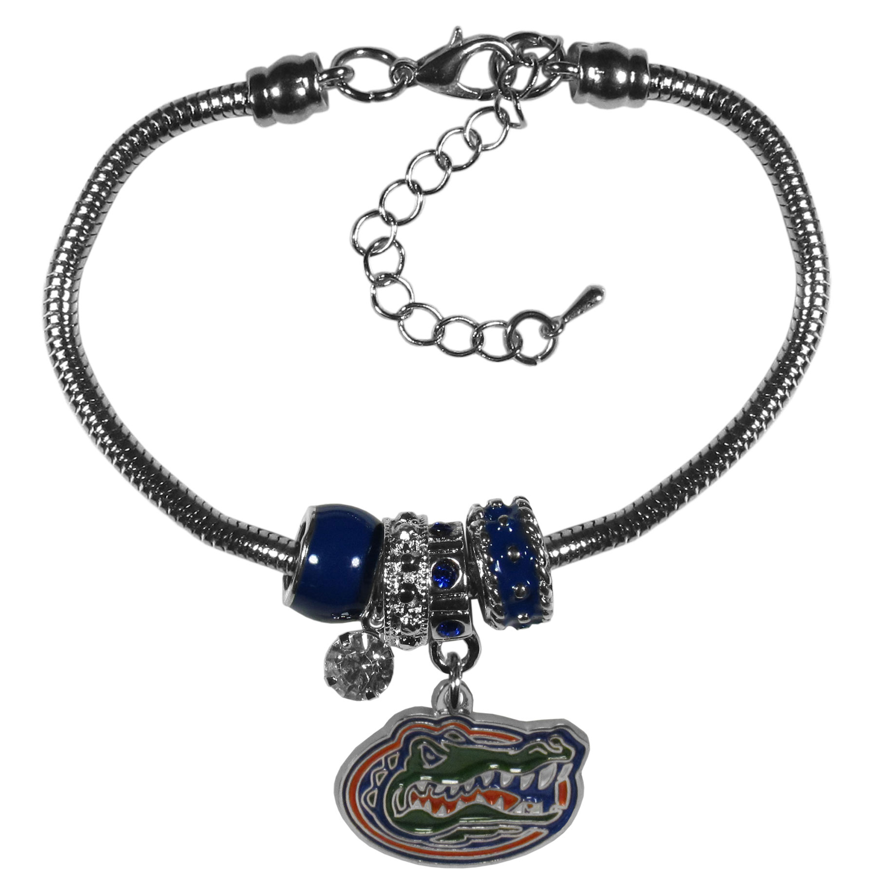 Florida Gators Euro Bead Bracelet - We have combined the wildly popular Euro style beads with your favorite team to create our  Florida Gators bead bracelet. The 7.5 inch snake chain with 2 inch extender features 4 Euro beads with enameled team colors and rhinestone accents with a high polish, nickel free charm and rhinestone charm. Perfect way to show off your team pride.