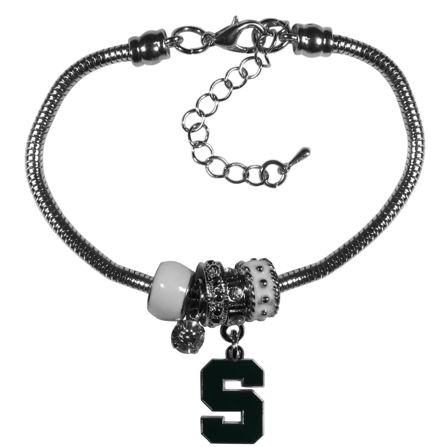 Michigan St. Spartans Euro Bead Bracelet - We have combined the wildly popular Euro style beads with your favorite team to create our  Michigan St. Spartans bead bracelet. The 7.5 inch snake chain with 2 inch extender features 4 Euro beads with enameled team colors and rhinestone accents with a high polish, nickel free charm and rhinestone charm. Perfect way to show off your team pride.