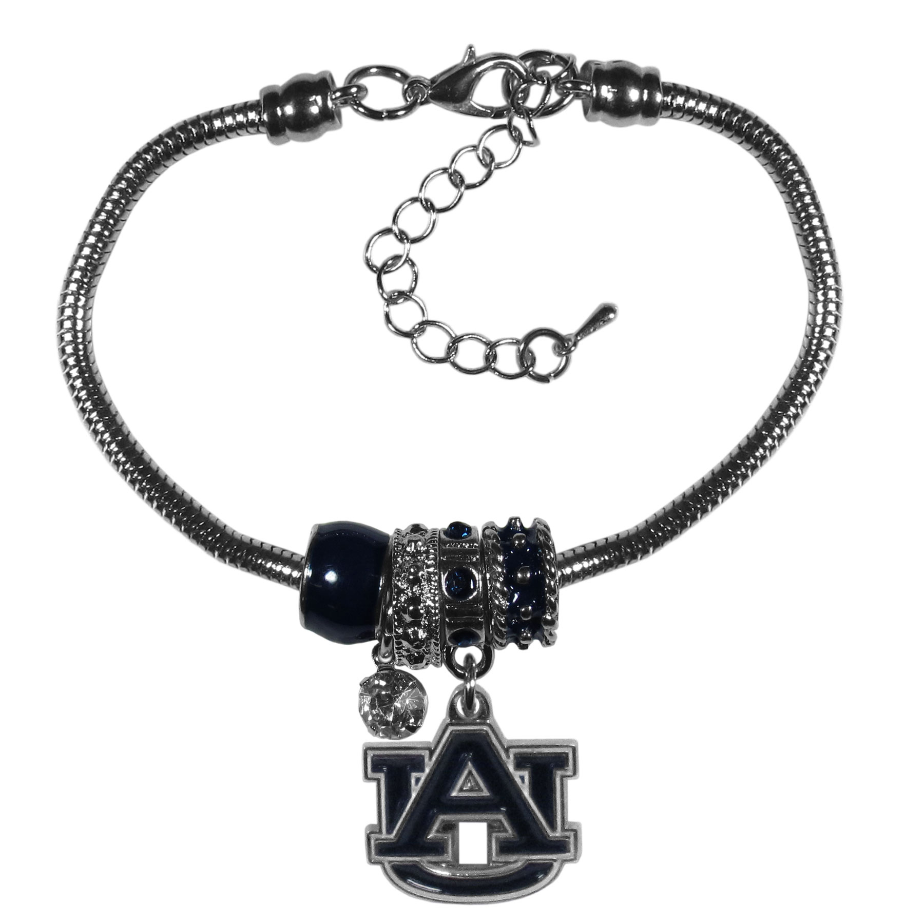 Auburn Tigers Euro Bead Bracelet - We have combined the wildly popular Euro style beads with your favorite team to create our  Auburn Tigers bead bracelet. The 7.5 inch snake chain with 2 inch extender features 4 Euro beads with enameled team colors and rhinestone accents with a high polish, nickel free charm and rhinestone charm. Perfect way to show off your team pride.