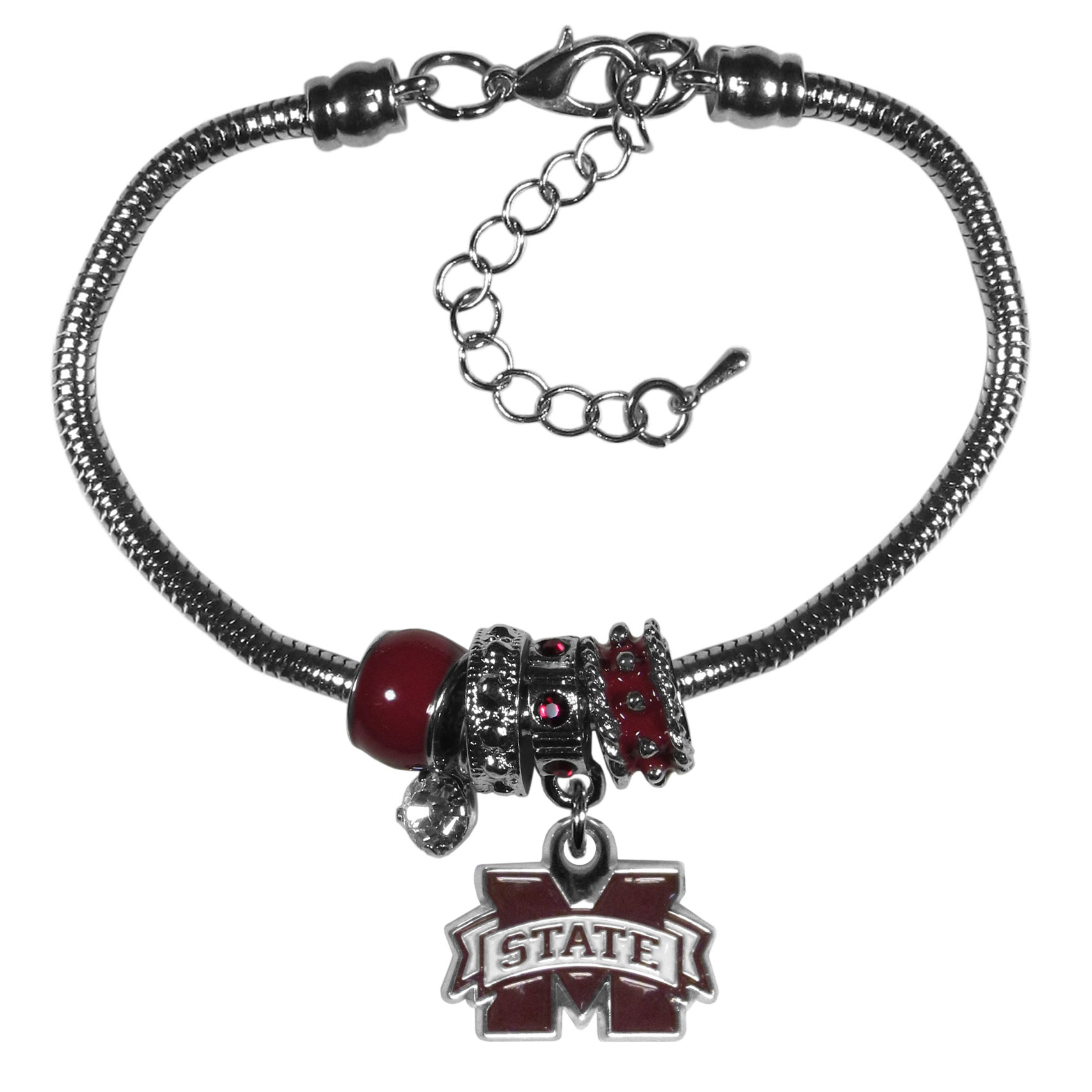 Mississippi St. Bulldogs Euro Bead Bracelet - We have combined the wildly popular Euro style beads with your favorite team to create our  Mississippi St. Bulldogs bead bracelet. The 7.5 inch snake chain with 2 inch extender features 4 Euro beads with enameled team colors and rhinestone accents with a high polish, nickel free charm and rhinestone charm. Perfect way to show off your team pride.