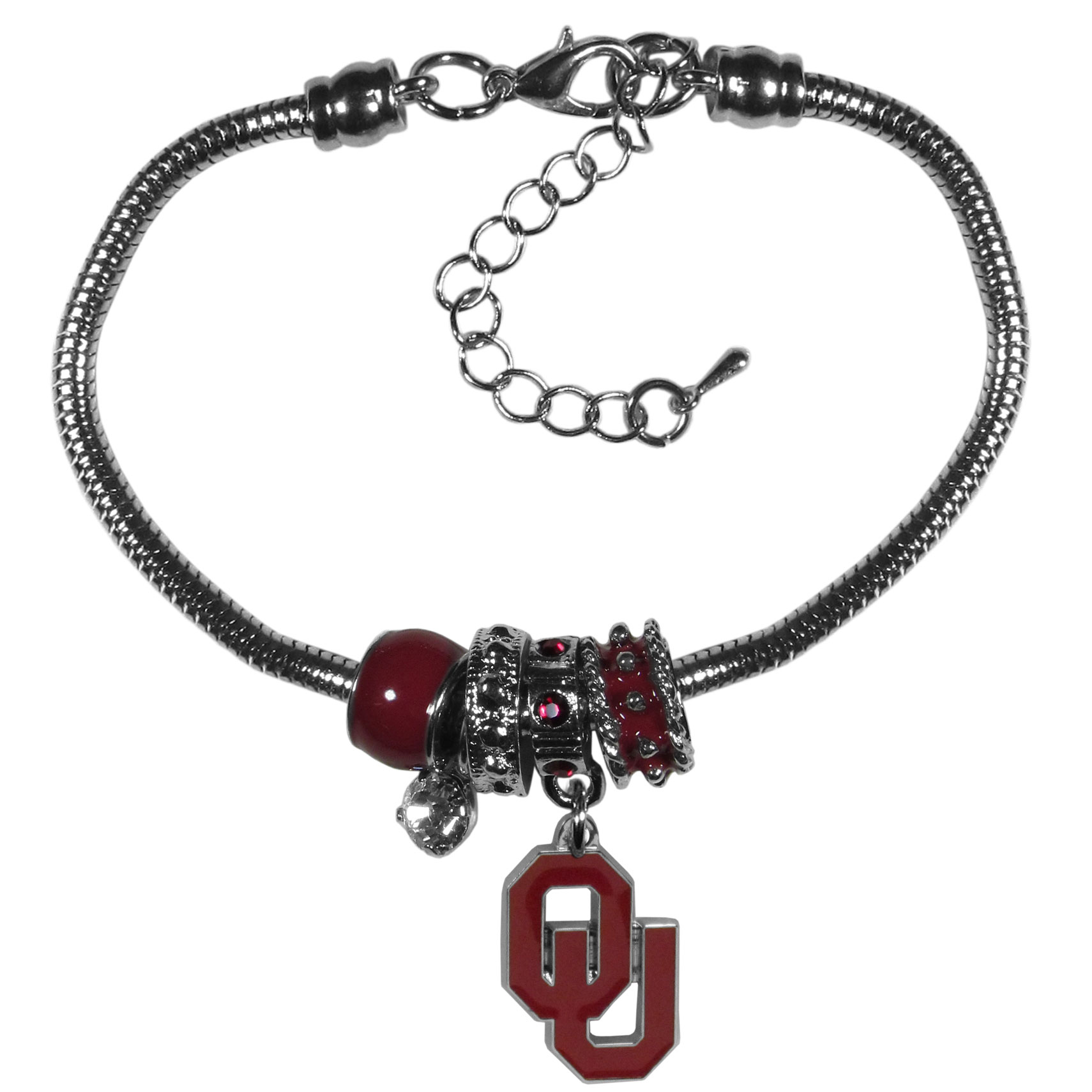 Oklahoma Sooners Euro Bead Bracelet - We have combined the wildly popular Euro style beads with your favorite team to create our  Oklahoma Sooners bead bracelet. The 7.5 inch snake chain with 2 inch extender features 4 Euro beads with enameled team colors and rhinestone accents with a high polish, nickel free charm and rhinestone charm. Perfect way to show off your team pride.