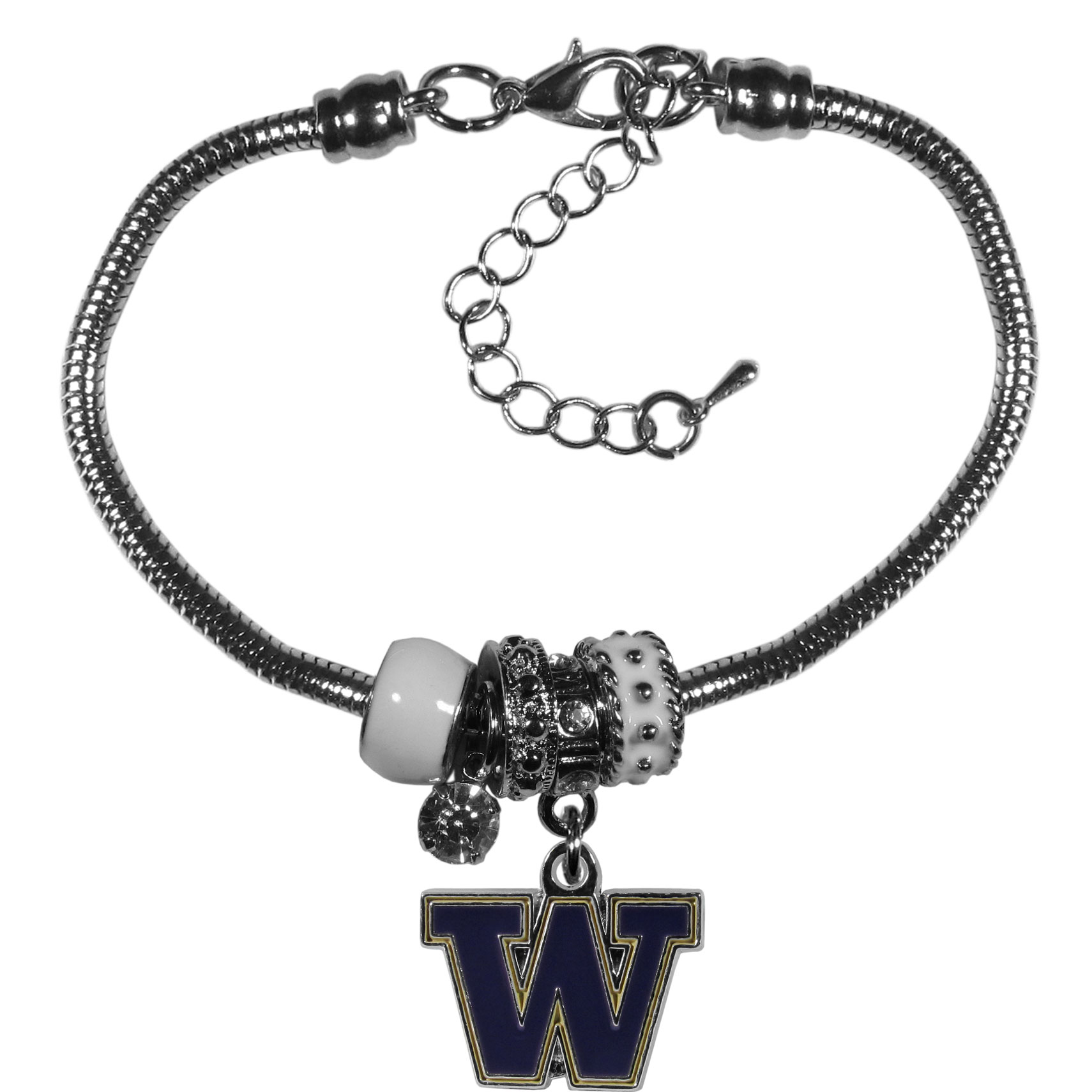 Washington Huskies Euro Bead Bracelet - We have combined the wildly popular Euro style beads with your favorite team to create our  Washington Huskies bead bracelet. The 7.5 inch snake chain with 2 inch extender features 4 Euro beads with enameled team colors and rhinestone accents with a high polish, nickel free charm and rhinestone charm. Perfect way to show off your team pride.