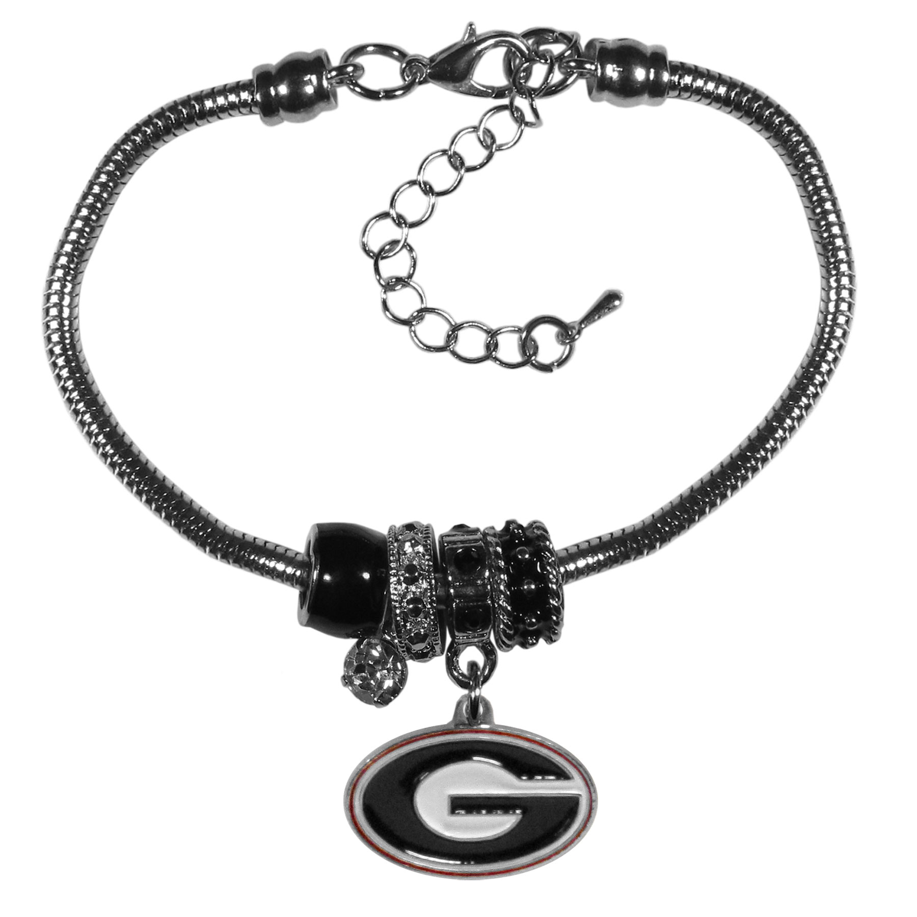 Georgia Bulldogs Euro Bead Bracelet - We have combined the wildly popular Euro style beads with your favorite team to create our  Georgia Bulldogs bead bracelet. The 7.5 inch snake chain with 2 inch extender features 4 Euro beads with enameled team colors and rhinestone accents with a high polish, nickel free charm and rhinestone charm. Perfect way to show off your team pride.