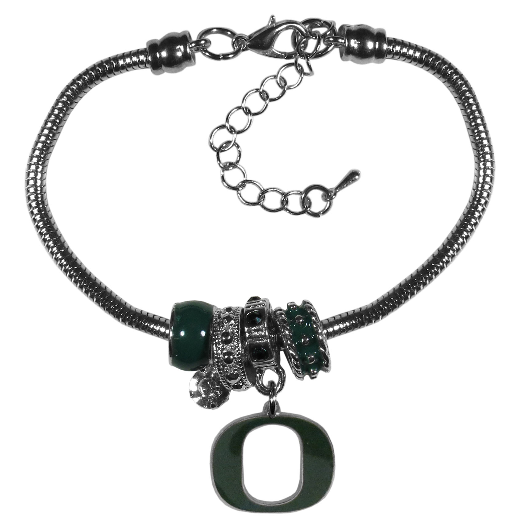 Oregon Ducks Euro Bead Bracelet - We have combined the wildly popular Euro style beads with your favorite team to create our  Oregon Ducks bead bracelet. The 7.5 inch snake chain with 2 inch extender features 4 Euro beads with enameled team colors and rhinestone accents with a high polish, nickel free charm and rhinestone charm. Perfect way to show off your team pride.
