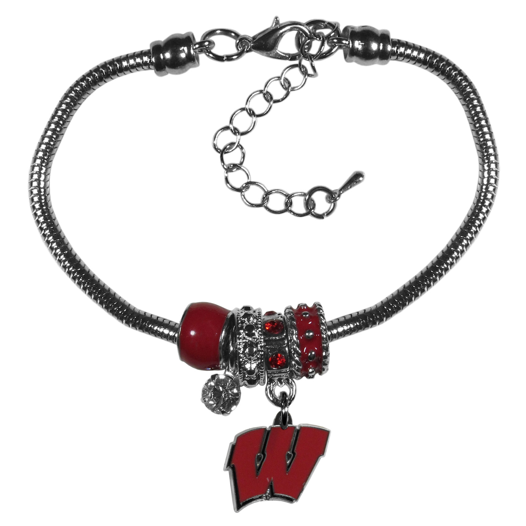 Wisconsin Badgers Euro Bead Bracelet - We have combined the wildly popular Euro style beads with your favorite team to create our  Wisconsin Badgers bead bracelet. The 7.5 inch snake chain with 2 inch extender features 4 Euro beads with enameled team colors and rhinestone accents with a high polish, nickel free charm and rhinestone charm. Perfect way to show off your team pride.