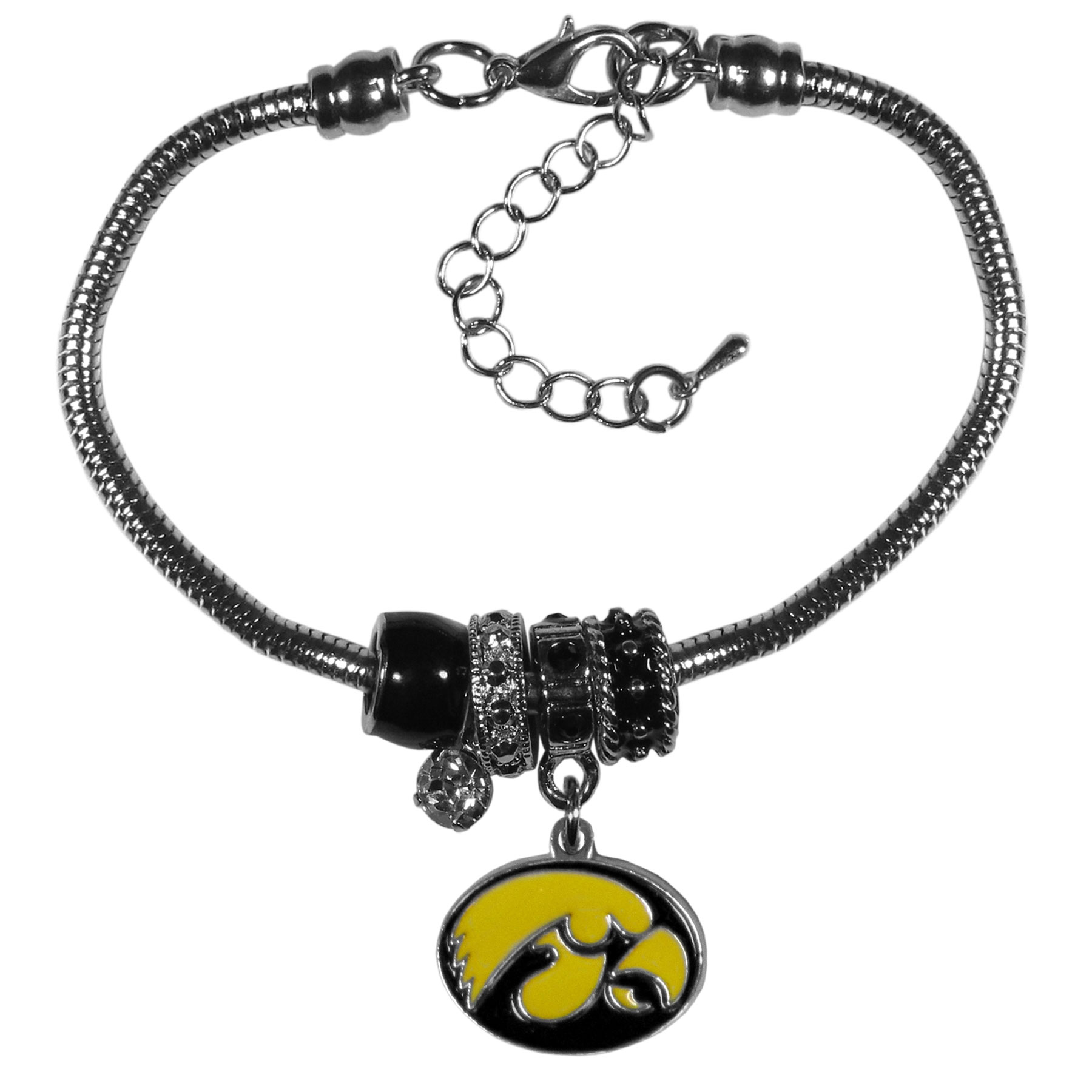 Iowa Hawkeyes Euro Bead Bracelet - We have combined the wildly popular Euro style beads with your favorite team to create our  Iowa Hawkeyes bead bracelet. The 7.5 inch snake chain with 2 inch extender features 4 Euro beads with enameled team colors and rhinestone accents with a high polish, nickel free charm and rhinestone charm. Perfect way to show off your team pride.