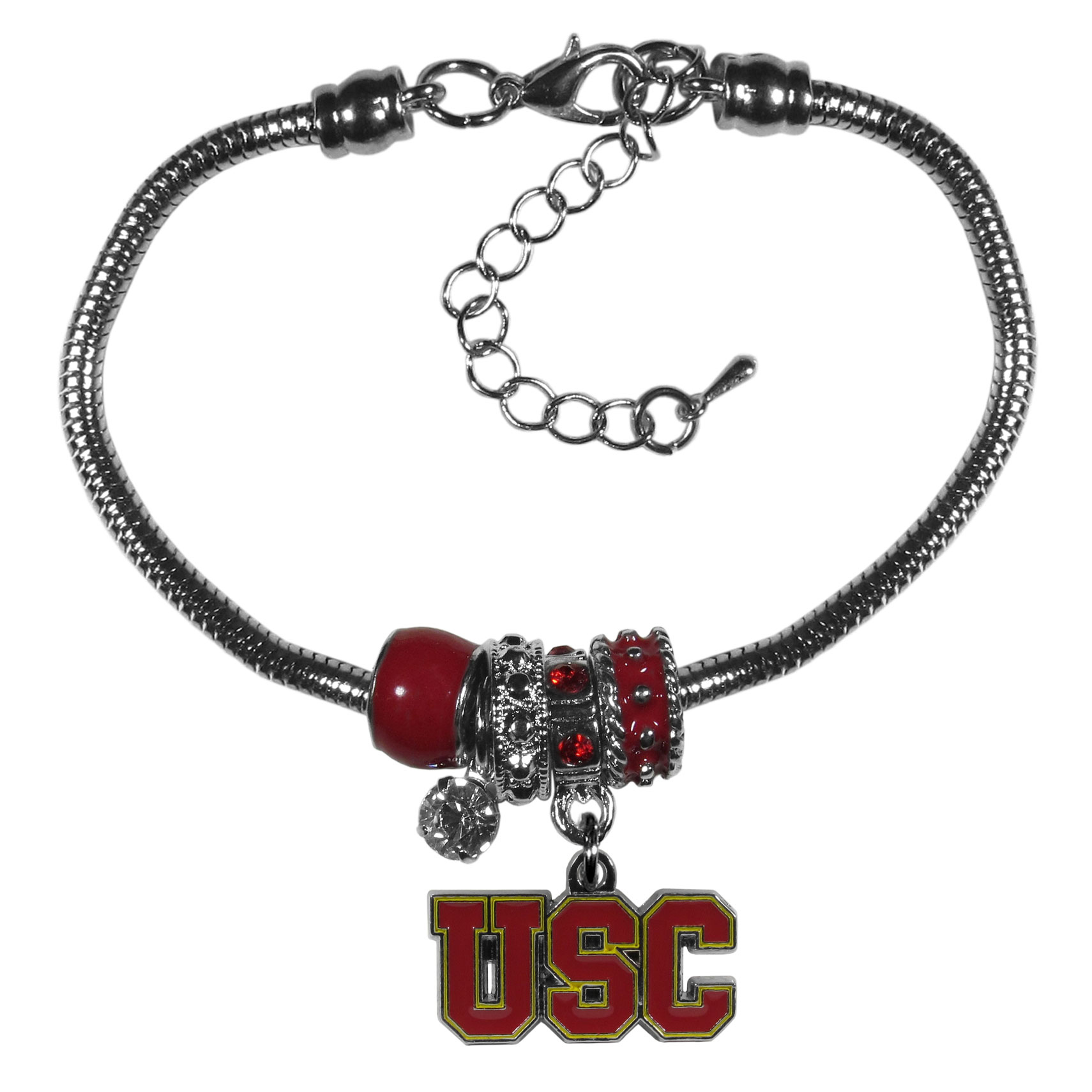USC Trojans Euro Bead Bracelet - We have combined the wildly popular Euro style beads with your favorite team to create our  USC Trojans bead bracelet. The 7.5 inch snake chain with 2 inch extender features 4 Euro beads with enameled team colors and rhinestone accents with a high polish, nickel free charm and rhinestone charm. Perfect way to show off your team pride.