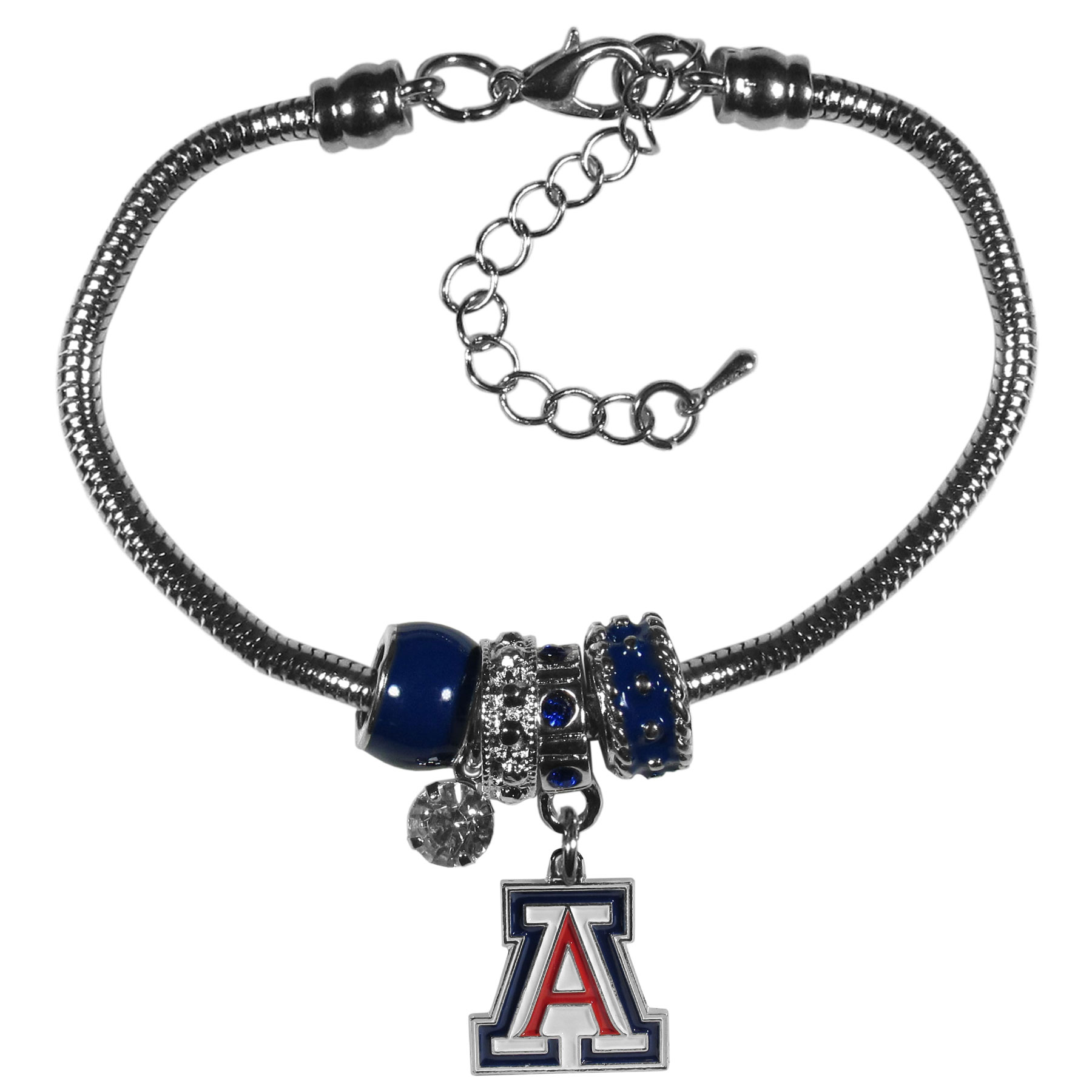 Arizona Wildcats Euro Bead Bracelet - We have combined the wildly popular Euro style beads with your favorite team to create our  Arizona Wildcats bead bracelet. The 7.5 inch snake chain with 2 inch extender features 4 Euro beads with enameled team colors and rhinestone accents with a high polish, nickel free charm and rhinestone charm. Perfect way to show off your team pride.