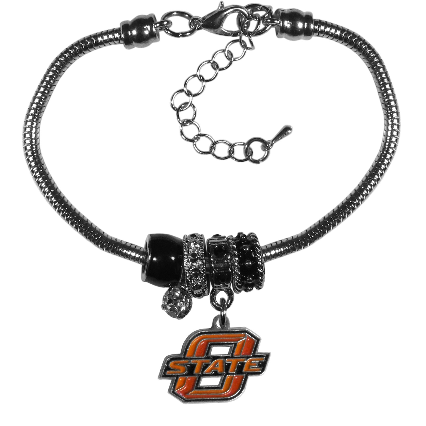 Oklahoma St. Cowboys Euro Bead Bracelet - We have combined the wildly popular Euro style beads with your favorite team to create our  Oklahoma St. Cowboys bead bracelet. The 7.5 inch snake chain with 2 inch extender features 4 Euro beads with enameled team colors and rhinestone accents with a high polish, nickel free charm and rhinestone charm. Perfect way to show off your team pride.