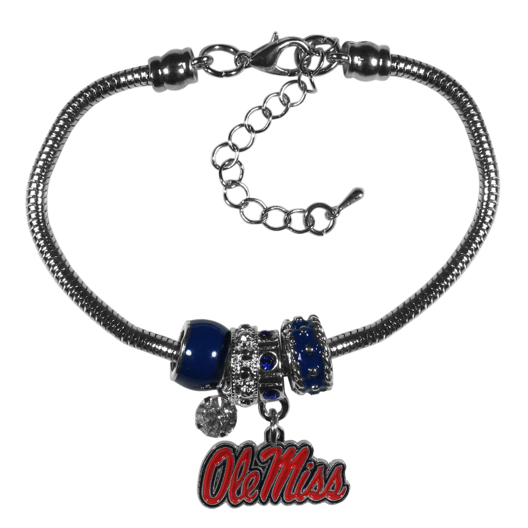 Mississippi Rebels Euro Bead Bracelet - We have combined the wildly popular Euro style beads with your favorite team to create our  Mississippi Rebels bead bracelet. The 7.5 inch snake chain with 2 inch extender features 4 Euro beads with enameled team colors and rhinestone accents with a high polish, nickel free charm and rhinestone charm. Perfect way to show off your team pride.