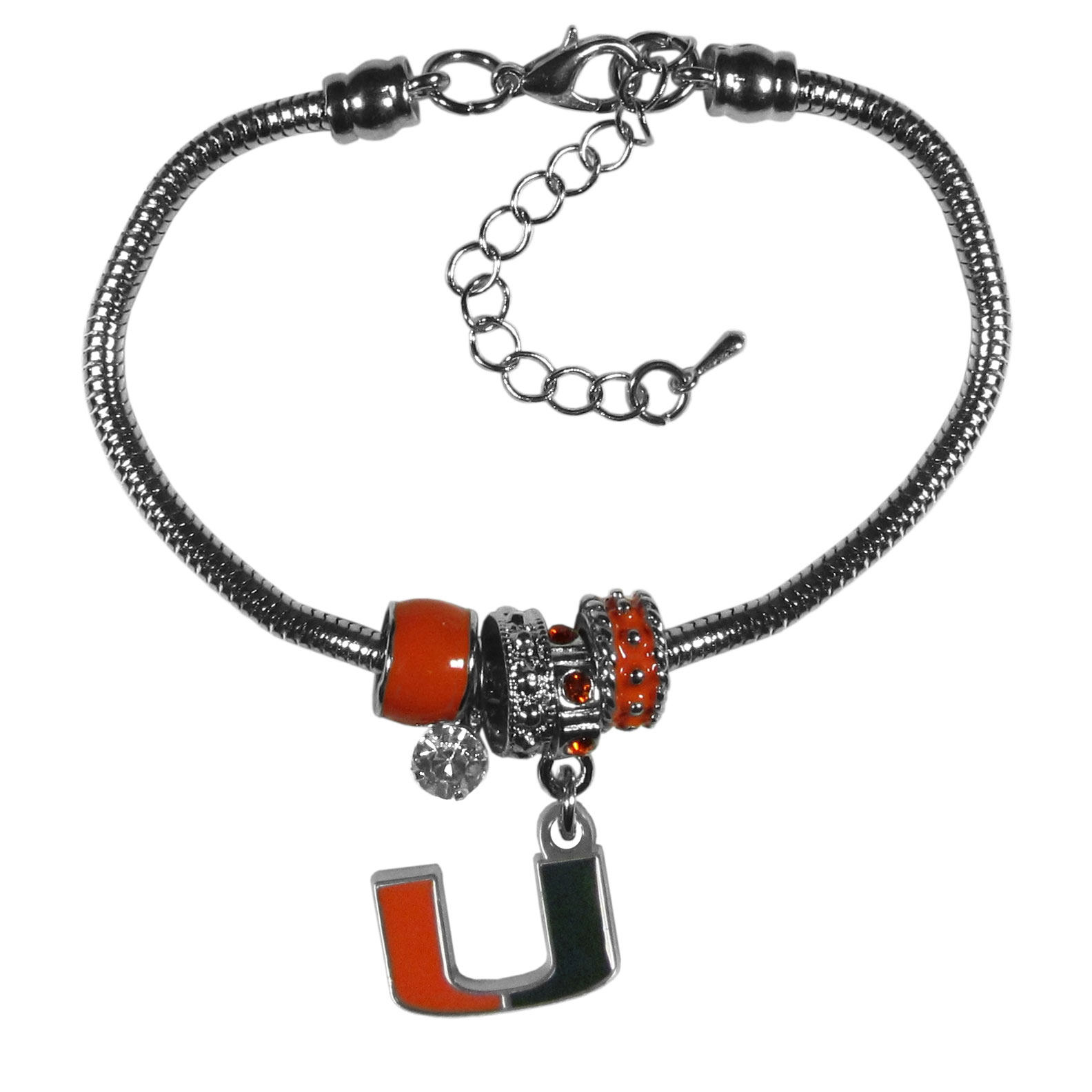 Miami Hurricanes Euro Bead Bracelet - We have combined the wildly popular Euro style beads with your favorite team to create our  Miami Hurricanes bead bracelet. The 7.5 inch snake chain with 2 inch extender features 4 Euro beads with enameled team colors and rhinestone accents with a high polish, nickel free charm and rhinestone charm. Perfect way to show off your team pride.