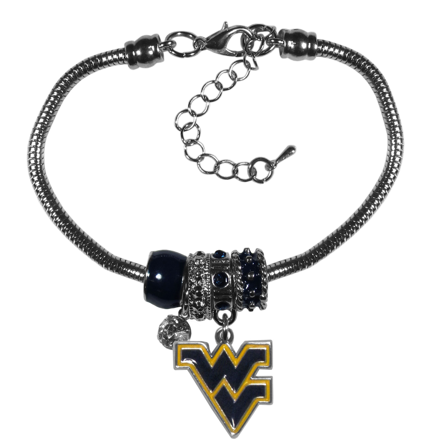 W. Virginia Mountaineers Euro Bead Bracelet - We have combined the wildly popular Euro style beads with your favorite team to create our  W. Virginia Mountaineers bead bracelet. The 7.5 inch snake chain with 2 inch extender features 4 Euro beads with enameled team colors and rhinestone accents with a high polish, nickel free charm and rhinestone charm. Perfect way to show off your team pride.