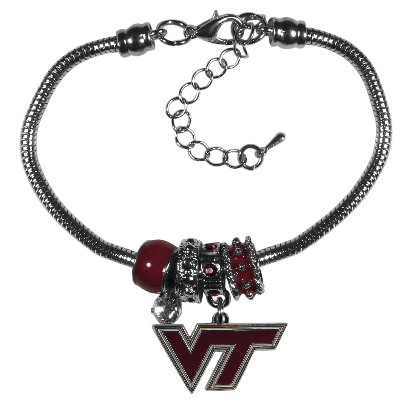 Virginia Tech Hokies Euro Bead Bracelet - We have combined the wildly popular Euro style beads with your favorite team to create our  Virginia Tech Hokies bead bracelet. The 7.5 inch snake chain with 2 inch extender features 4 Euro beads with enameled team colors and rhinestone accents with a high polish, nickel free charm and rhinestone charm. Perfect way to show off your team pride.