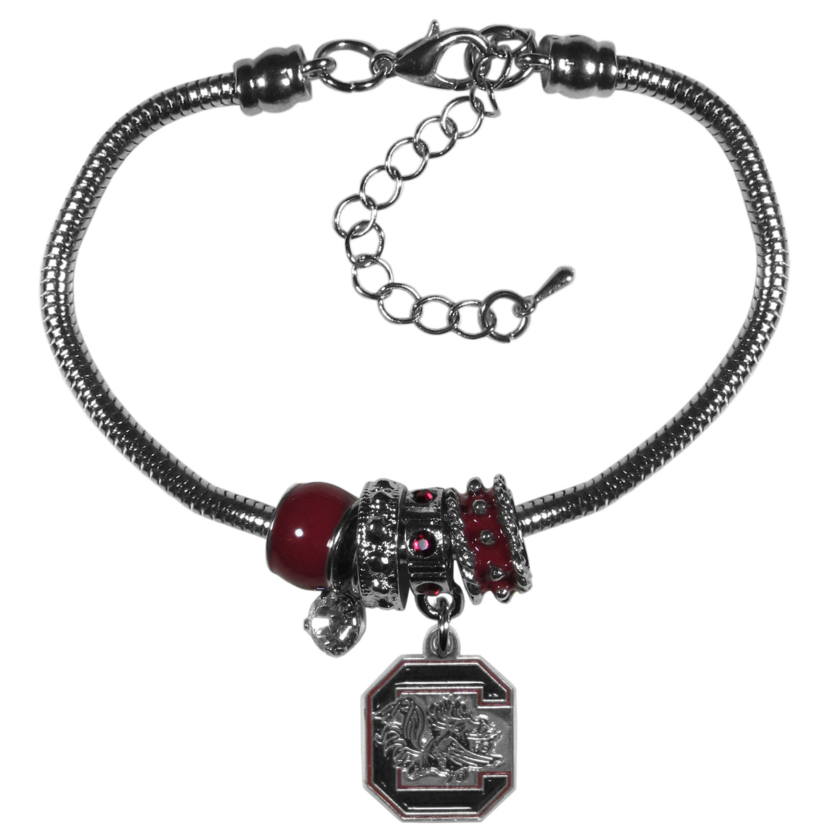 S. Carolina Gamecocks Euro Bead Bracelet - We have combined the wildly popular Euro style beads with your favorite team to create our  S. Carolina Gamecocks bead bracelet. The 7.5 inch snake chain with 2 inch extender features 4 Euro beads with enameled team colors and rhinestone accents with a high polish, nickel free charm and rhinestone charm. Perfect way to show off your team pride.