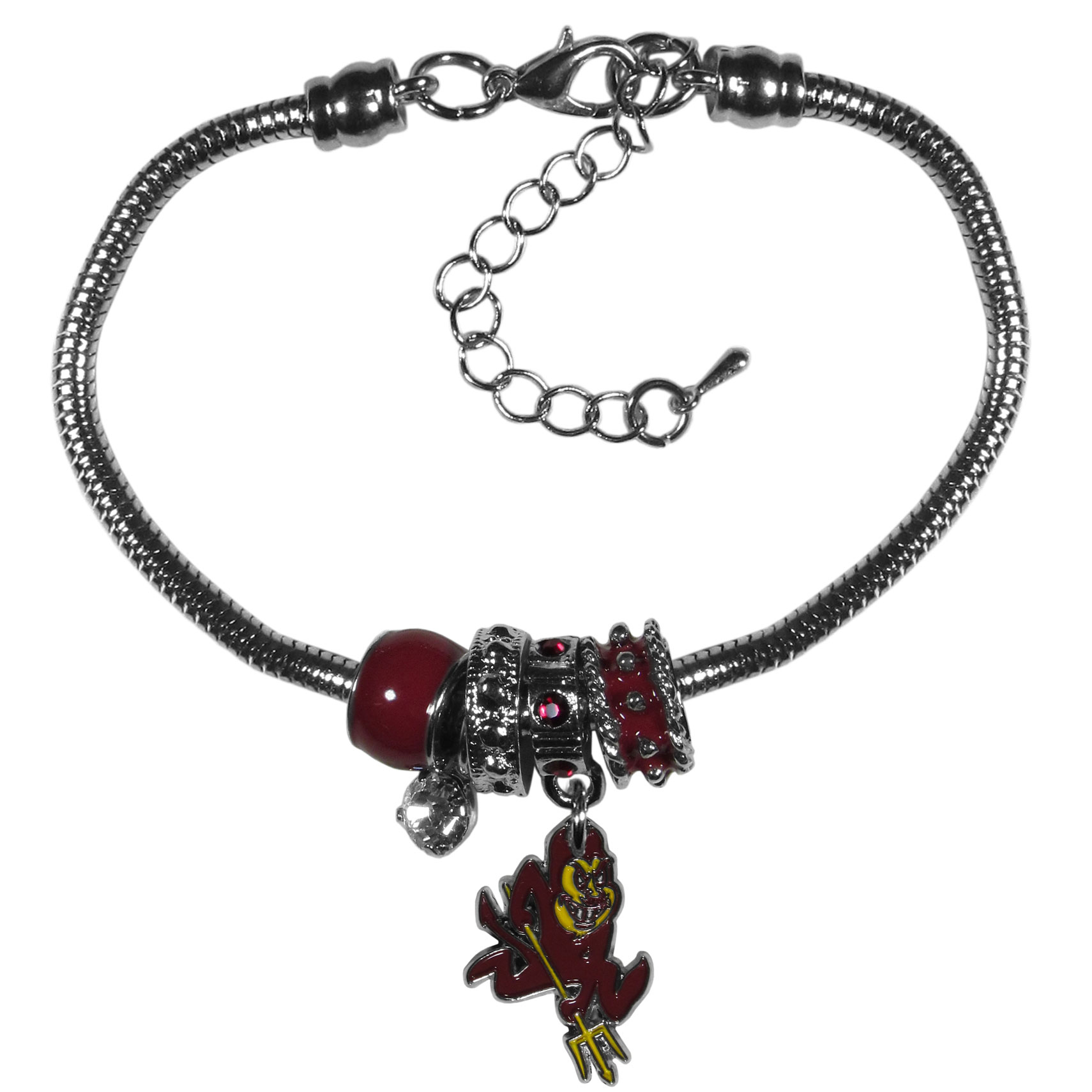 Arizona St. Sun Devils Euro Bead Bracelet - We have combined the wildly popular Euro style beads with your favorite team to create our  Arizona St. Sun Devils bead bracelet. The 7.5 inch snake chain with 2 inch extender features 4 Euro beads with enameled team colors and rhinestone accents with a high polish, nickel free charm and rhinestone charm. Perfect way to show off your team pride.