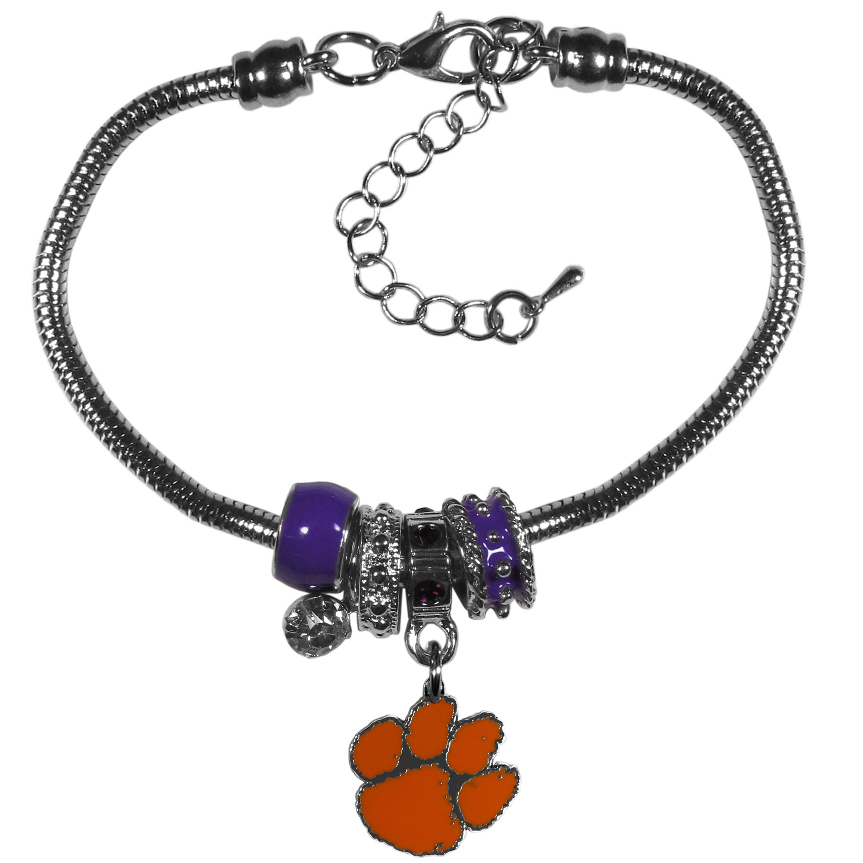 Clemson Tigers Euro Bead Bracelet - We have combined the wildly popular Euro style beads with your favorite team to create our  Clemson Tigers bead bracelet. The 7.5 inch snake chain with 2 inch extender features 4 Euro beads with enameled team colors and rhinestone accents with a high polish, nickel free charm and rhinestone charm. Perfect way to show off your team pride.