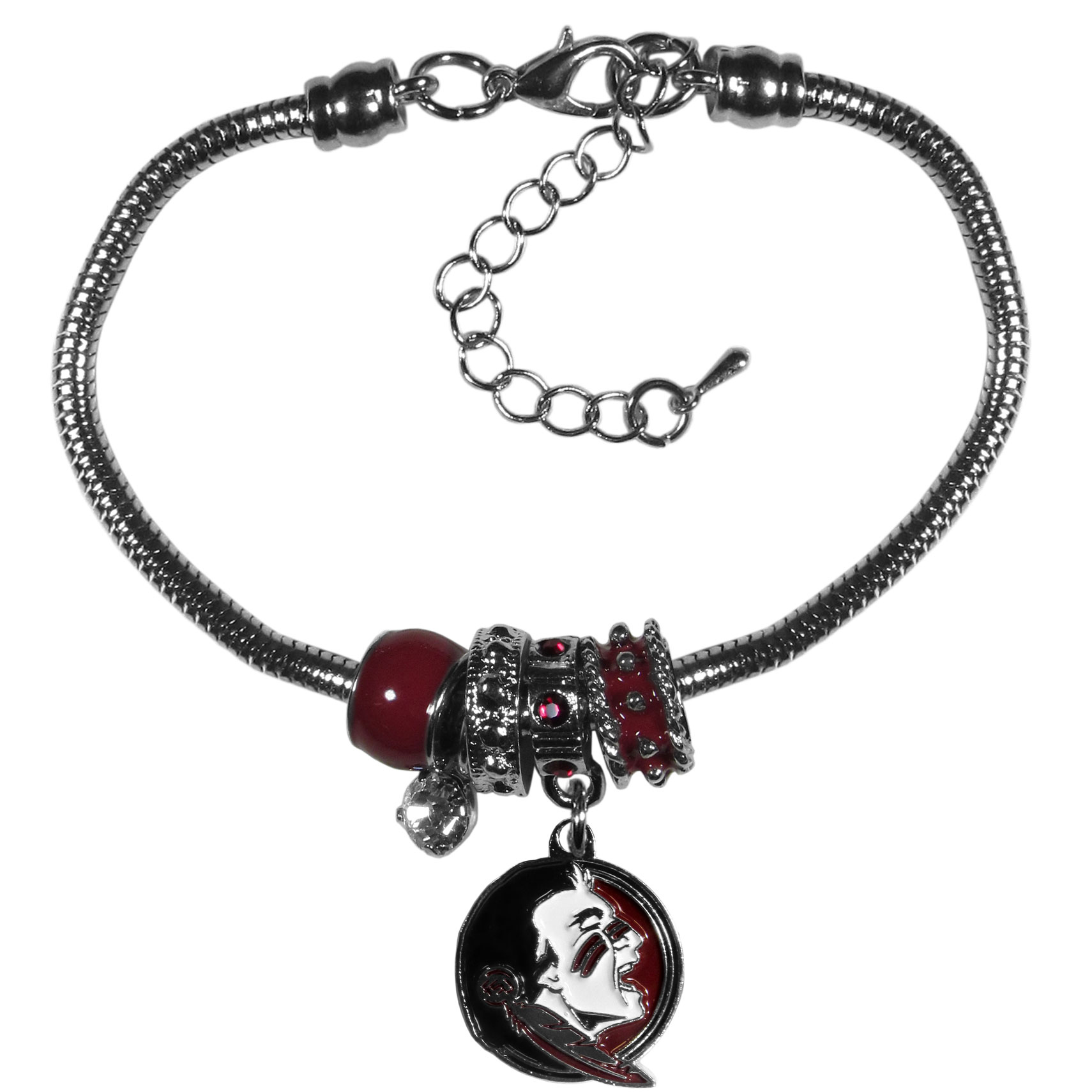 Florida St. Seminoles Euro Bead Bracelet - We have combined the wildly popular Euro style beads with your favorite team to create our  Florida St. Seminoles bead bracelet. The 7.5 inch snake chain with 2 inch extender features 4 Euro beads with enameled team colors and rhinestone accents with a high polish, nickel free charm and rhinestone charm. Perfect way to show off your team pride.